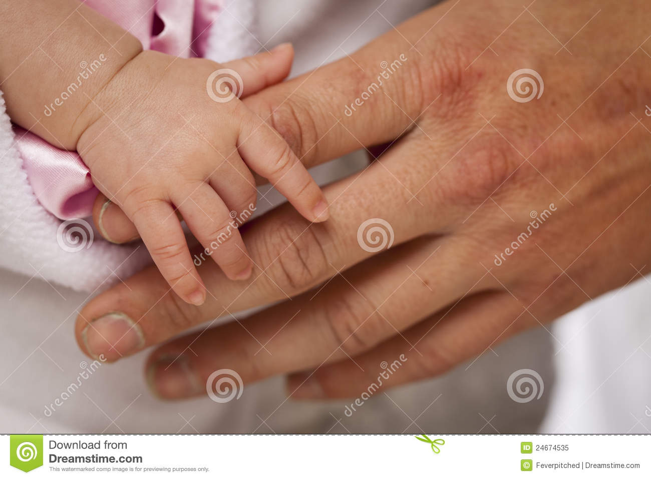 Baby Girl Hand Holding Rough Finger Of Dad Royalty Free -7542