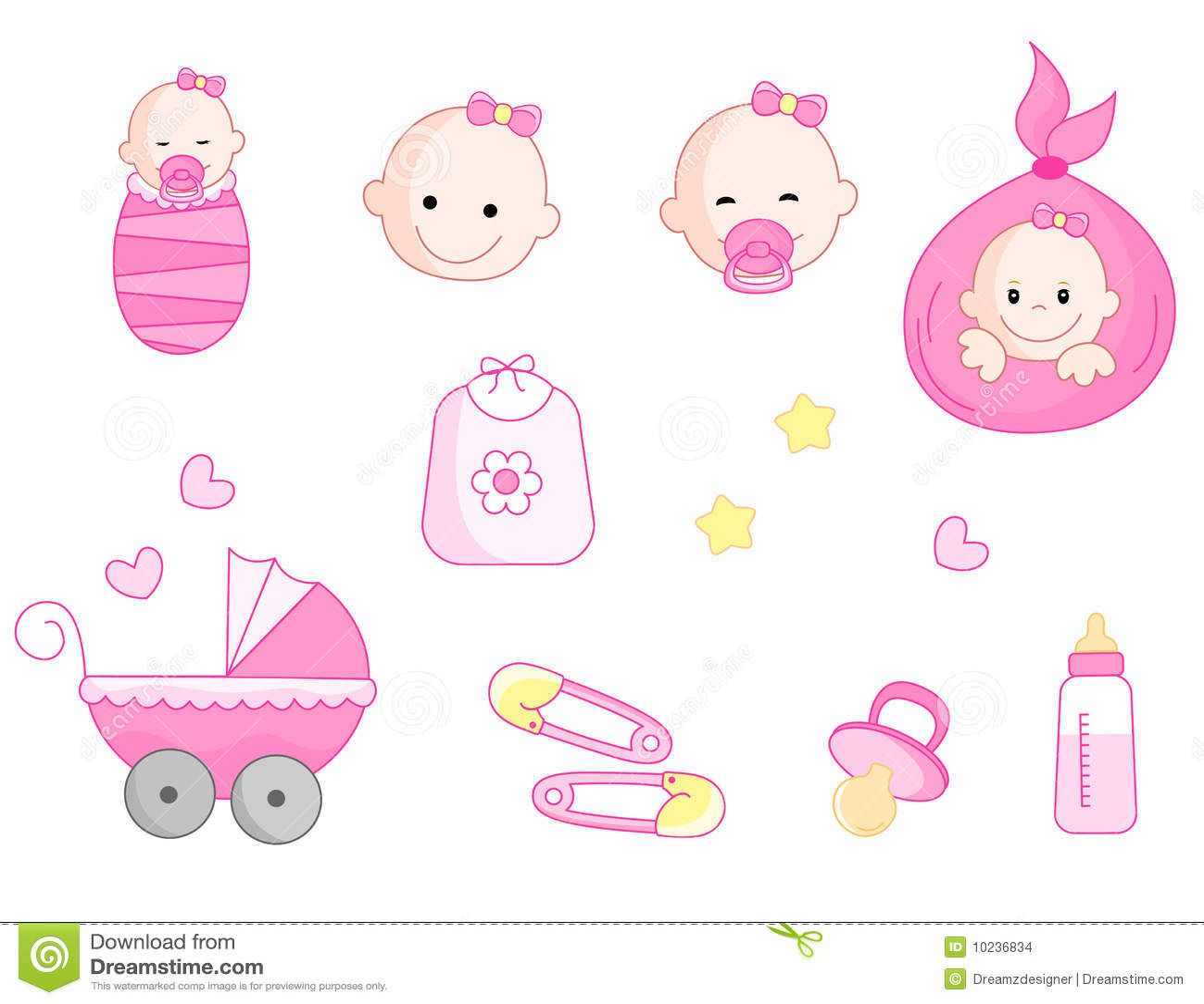 Baby girl icon set