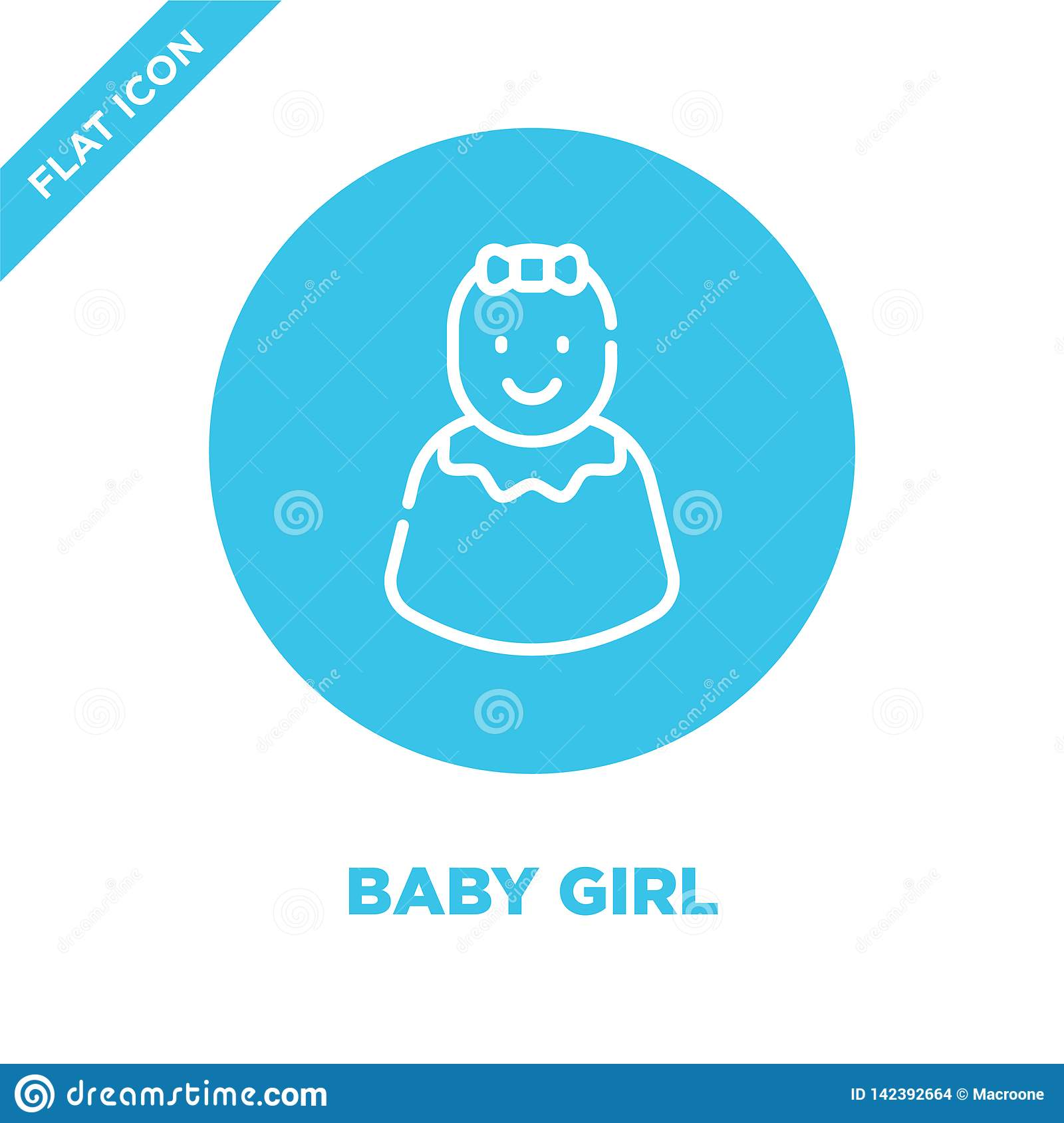 baby girl icon vector from baby toys collection. Thin line baby girl outline icon vector  illustration. Linear symbol for use on
