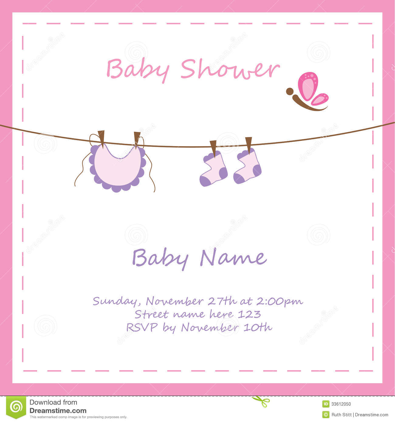 baby girl invitation stock illustration illustration of pink 33612050