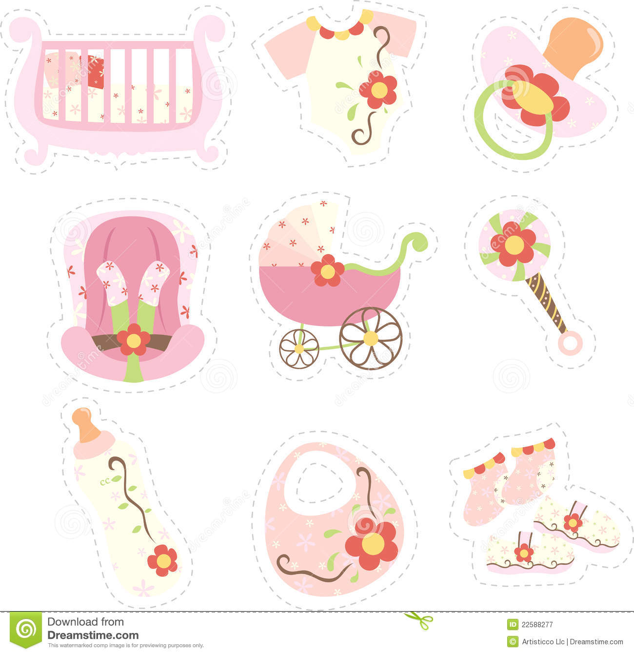 Baby Girl Items Icons Royalty Free Stock Photography - Image: 22588277