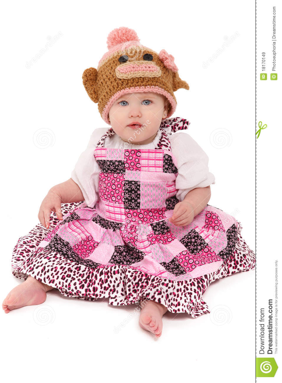 8b0305900 Baby Girl In Knitted Monkey Hat Stock Image - Image of innocent ...