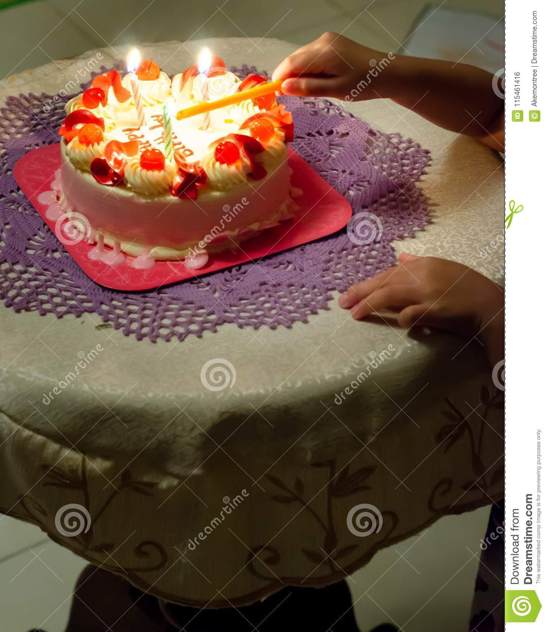 Baby Girl Is Lighting Hbd Cake Before Blowing Stock Photo Image Of