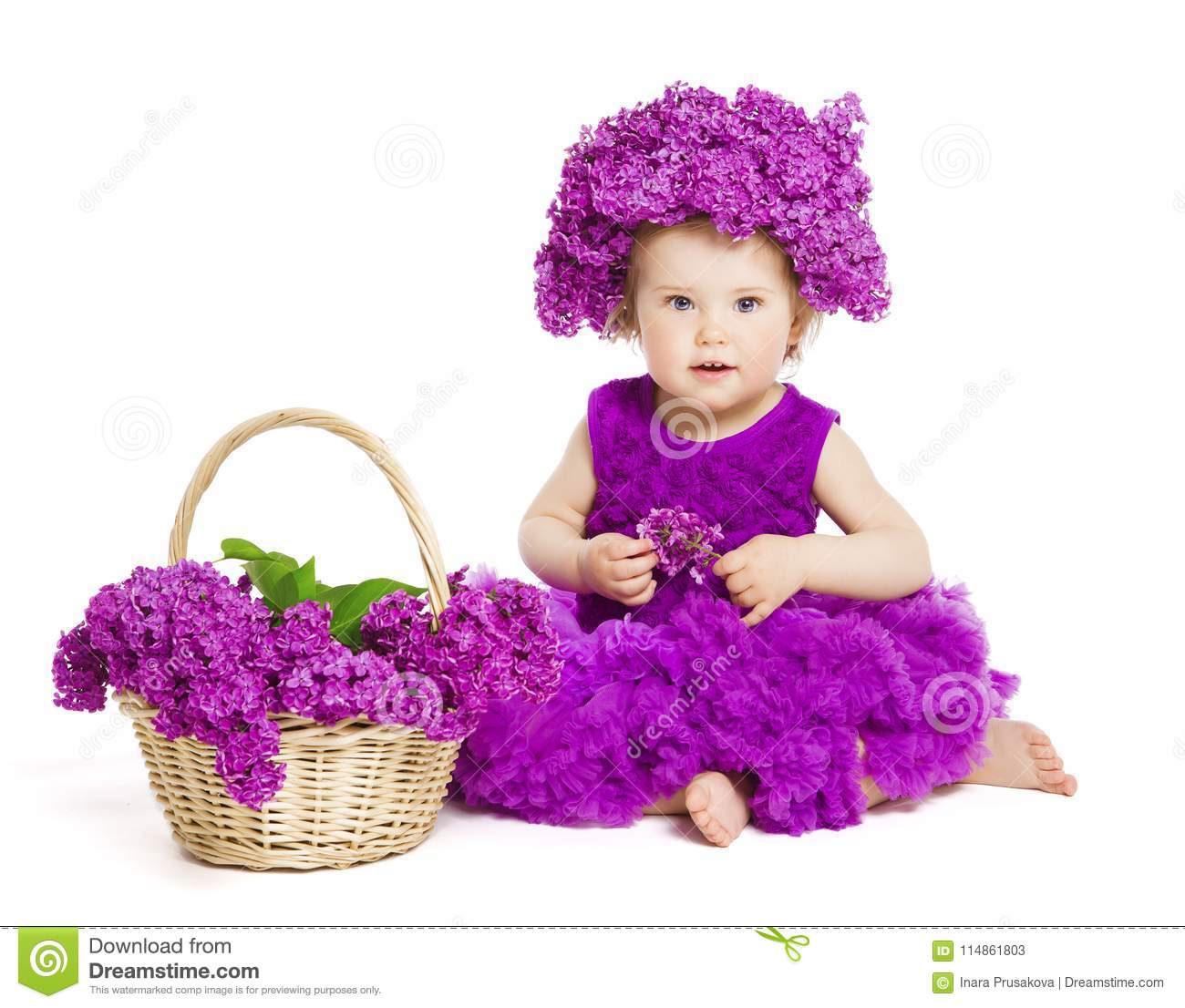 7db390f4c Baby Girl With Lilac Flowers