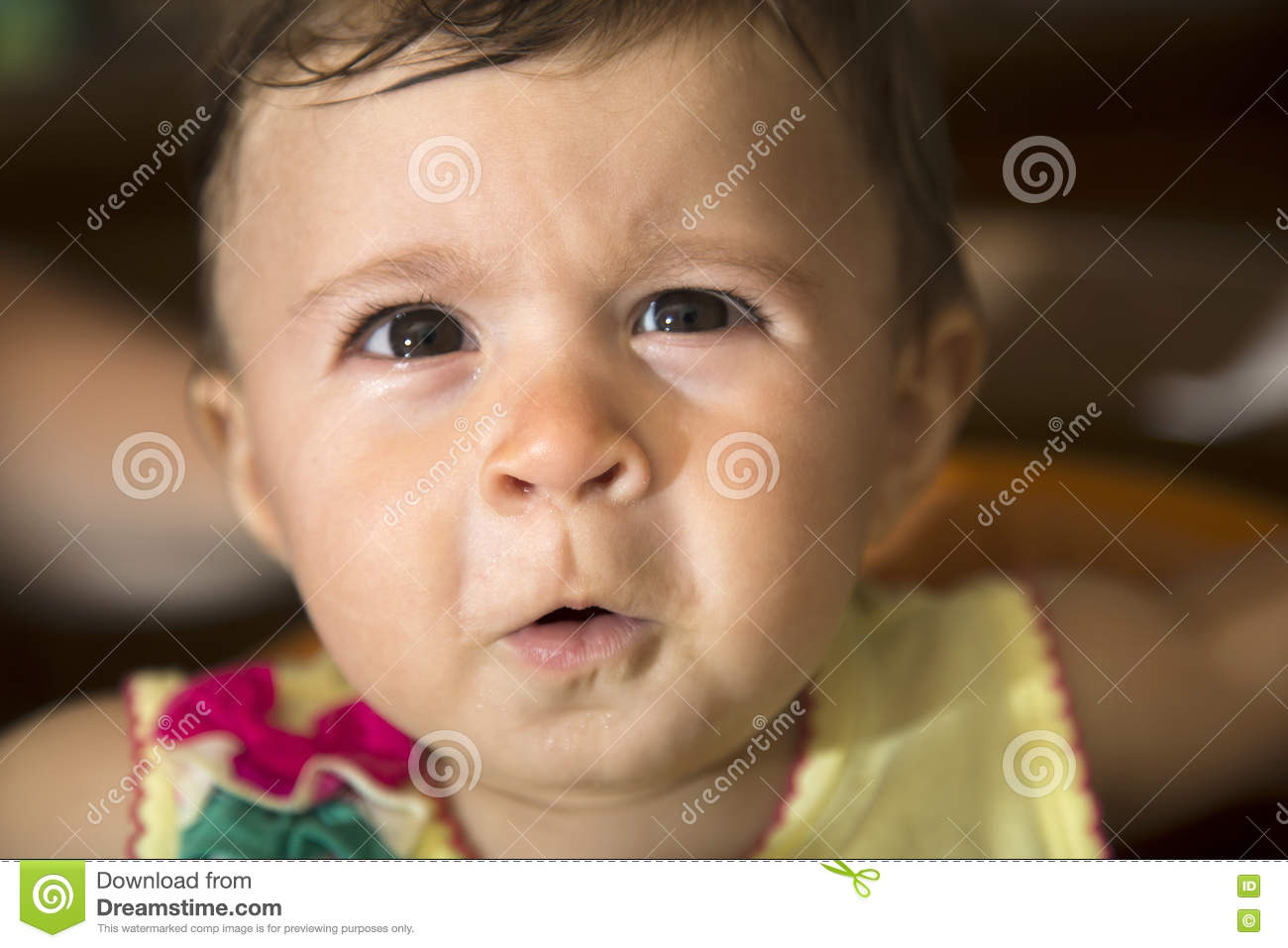 36eb4ce00 Baby Girl Looking At Camera With Funny Face Stock Image - Image of ...