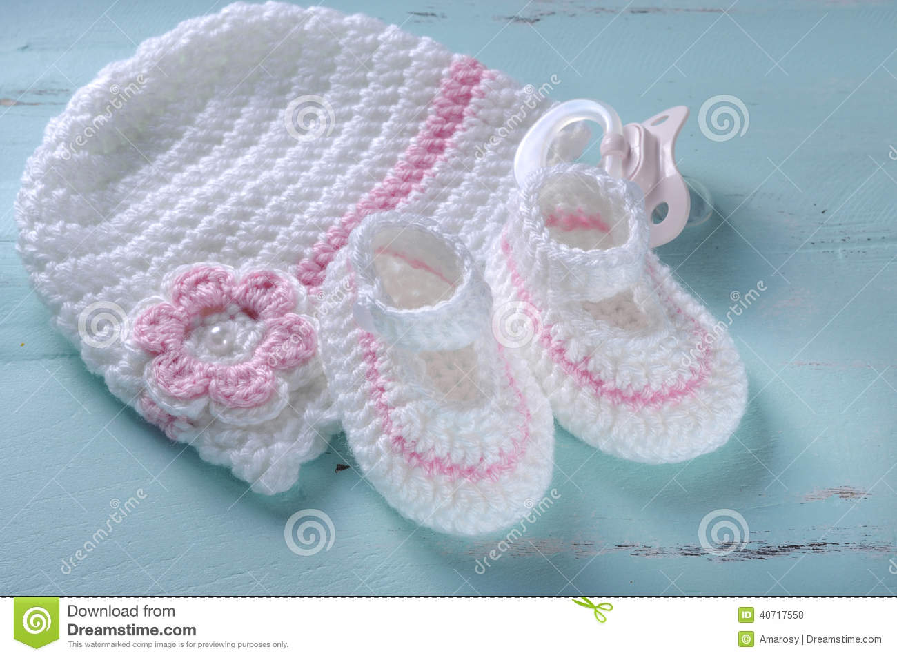 Baby Girl Nursery Pink And White Stripe Wool Booties And