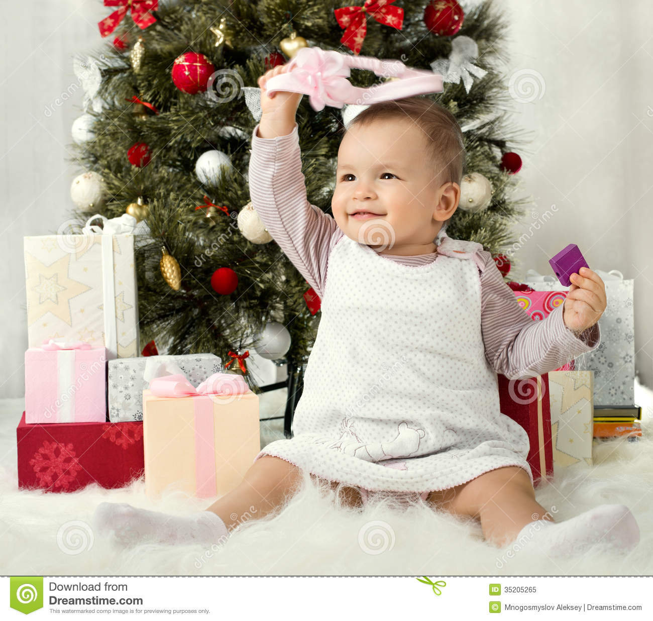 Little Girl Christmas Tree: Baby Girl Stock Image. Image Of Fir, Tree, Gift, One