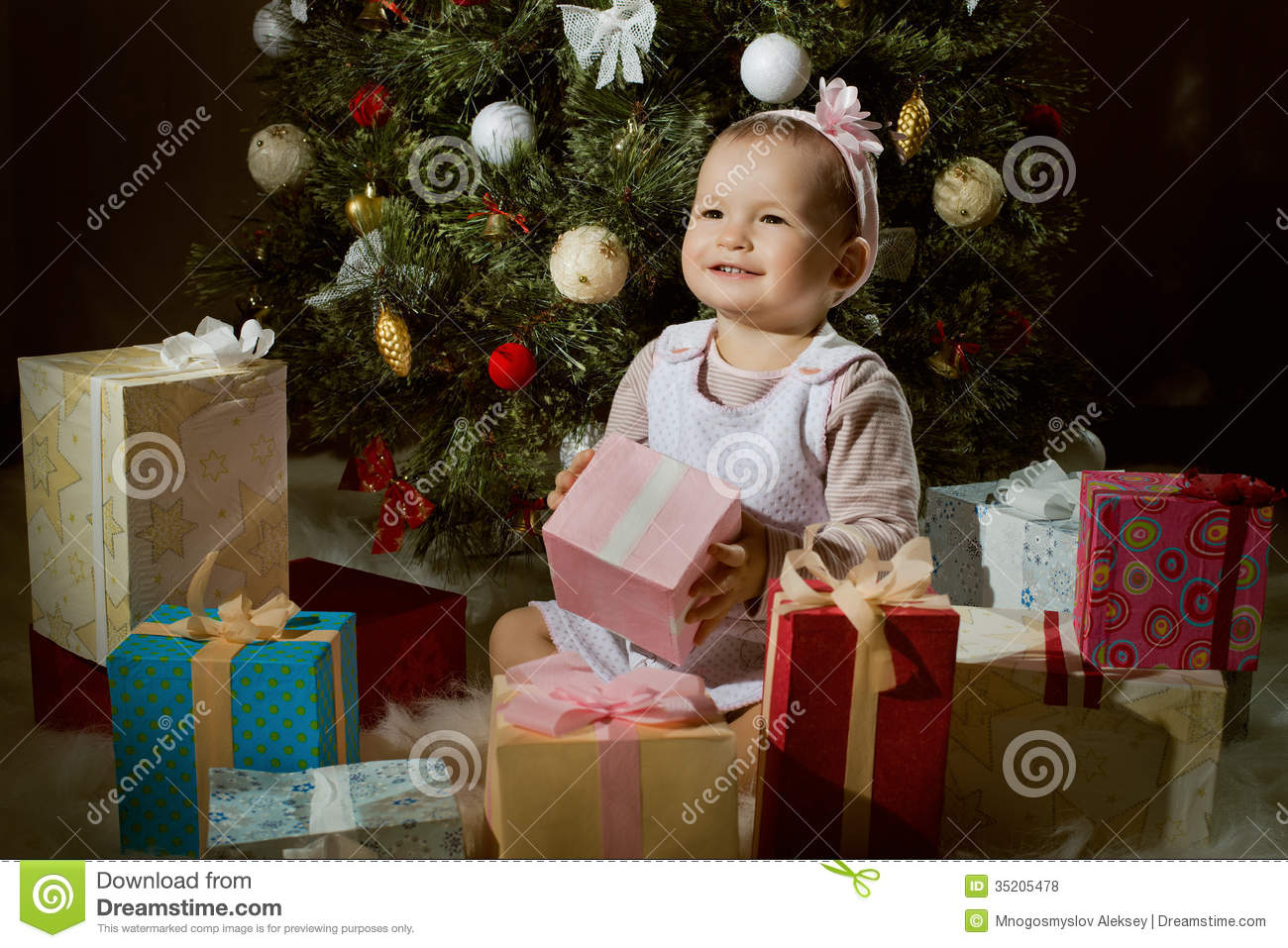 Baby Girl Stock Photo. Image Of Firtree, Little, Cheerful