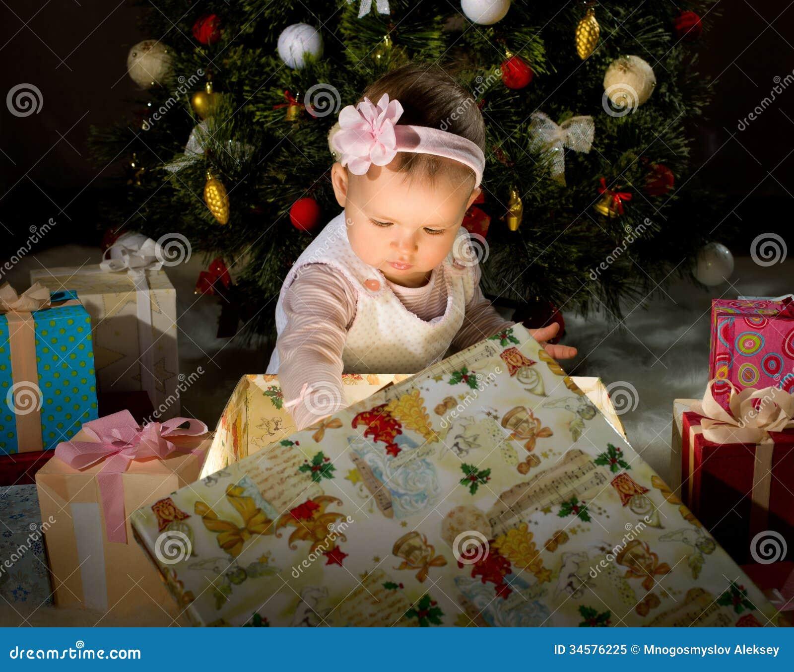 Baby girl stock image. Image of fir, year, small, christmas - 34576225