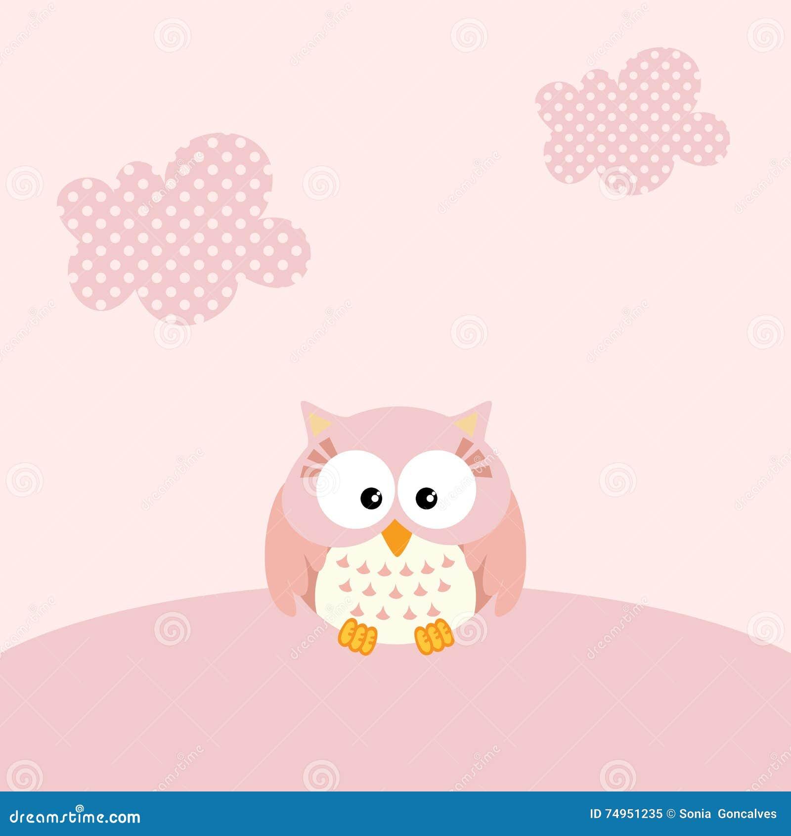 Baby girl owl background stock vector. Image of happy ...
