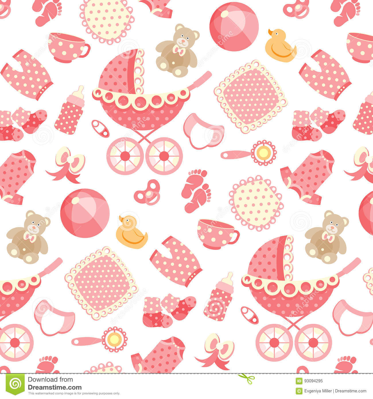 3224344b539d Baby girl pattern on pink stock vector. Illustration of objects ...