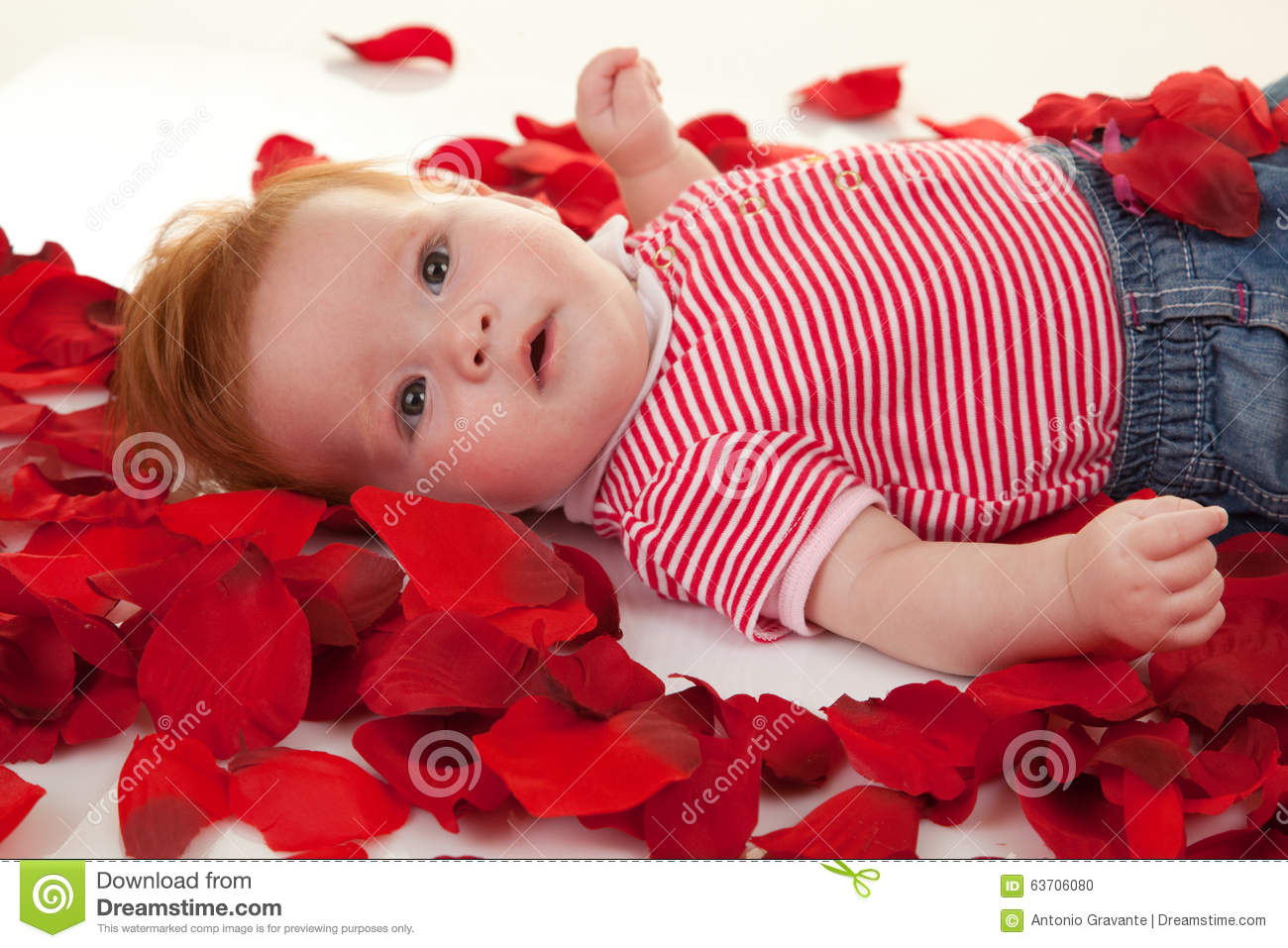 Baby Girl On Petals Roses Stock Photo - Image: 63706080