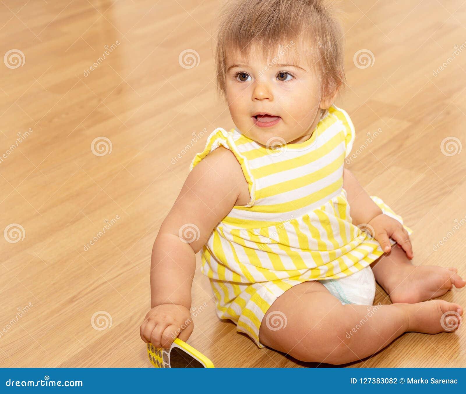 Baby Girl Phone Yellow Dress Cute 4 Stock Photo Image Of Happy Infant 127383082