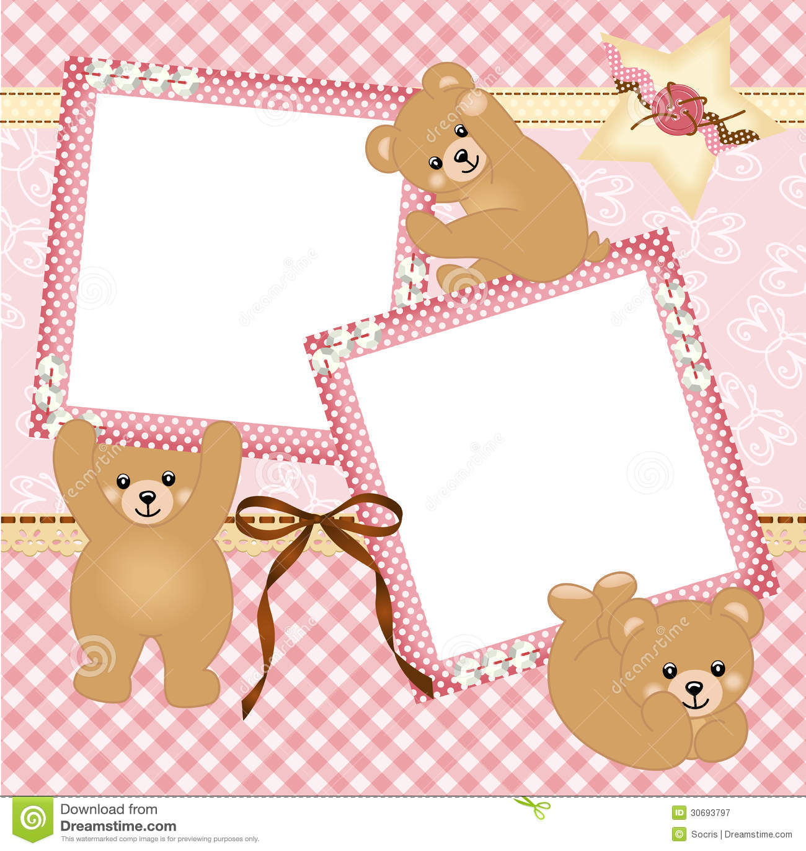 Baby Girl Photo Frame With Teddy Bear Stock Vector Image 30693797