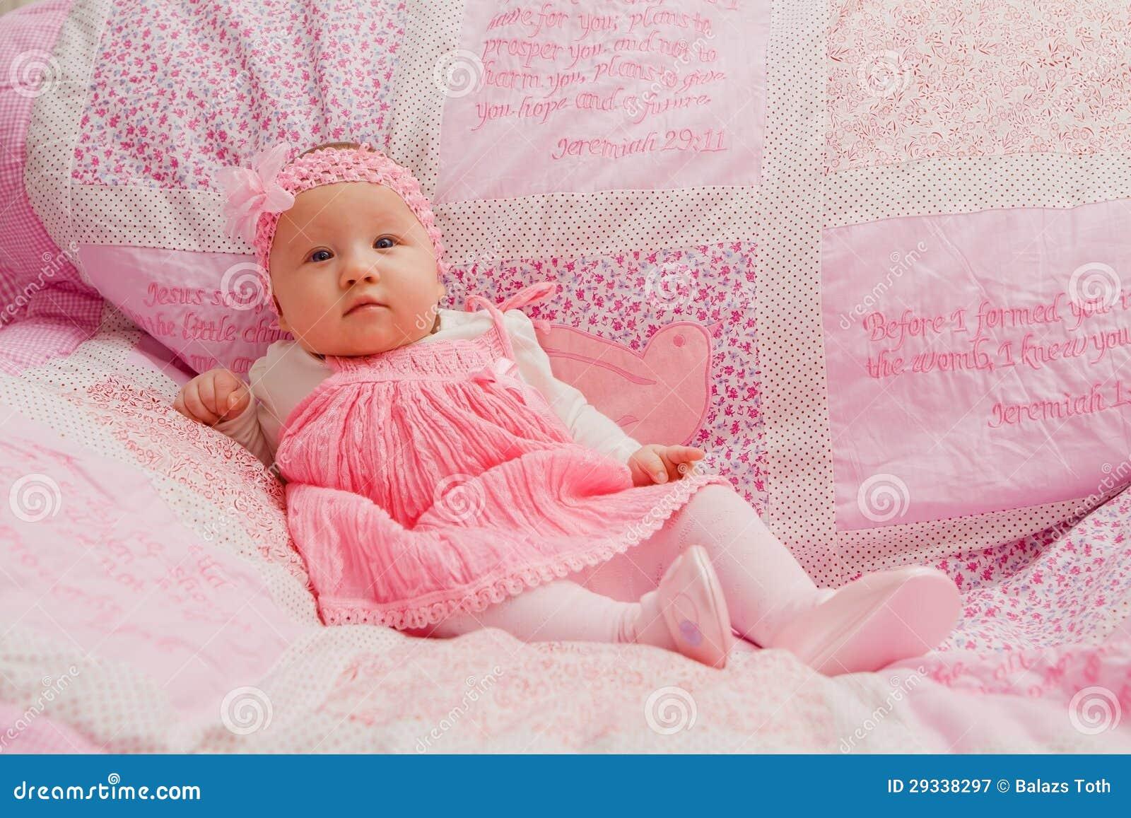 baby girl on pink blanket stock image image of comfortable 29338297