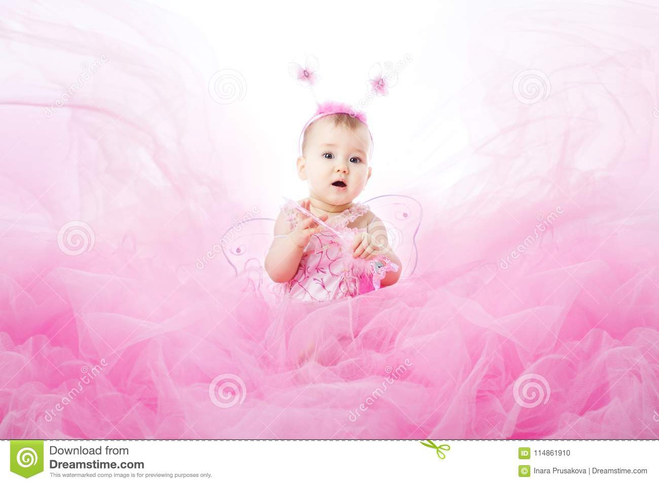 97f871568 Baby Girl in Pink Dress, Beautiful Child Portrait, Cute Infant Kid Dressed  in Fairy Butterfly Costume