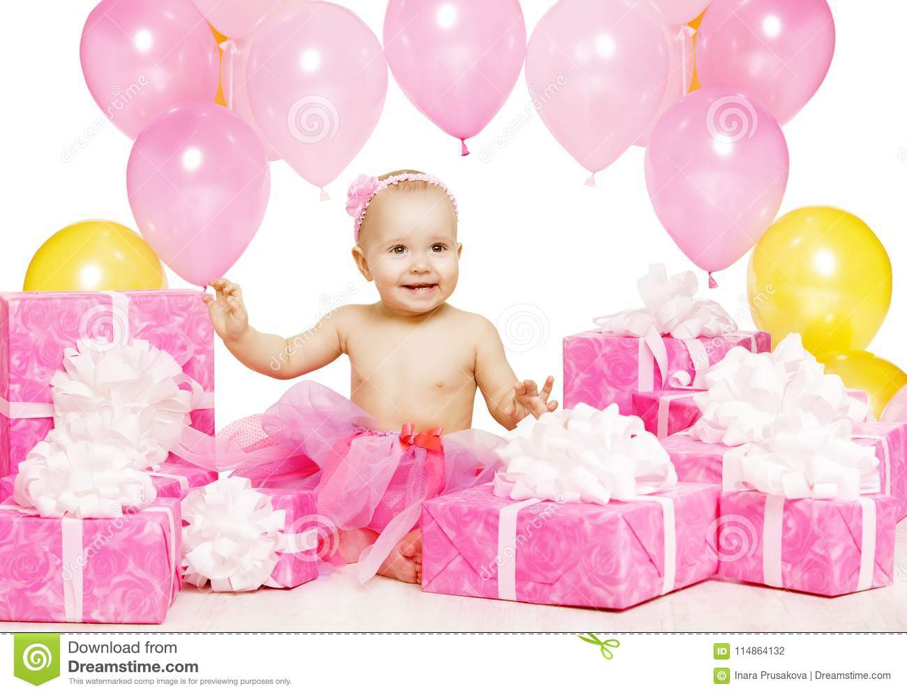 Baby Girl With Pink Present Gift Boxes Kid Celebrating Birthday Happy Child One Year Old Sitting In Balloons