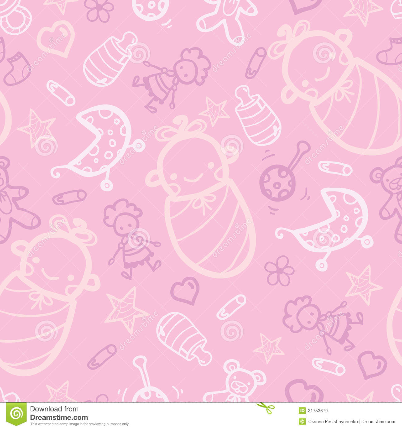 Baby Girl Pink Seamless Pattern Background Royalty Free ...