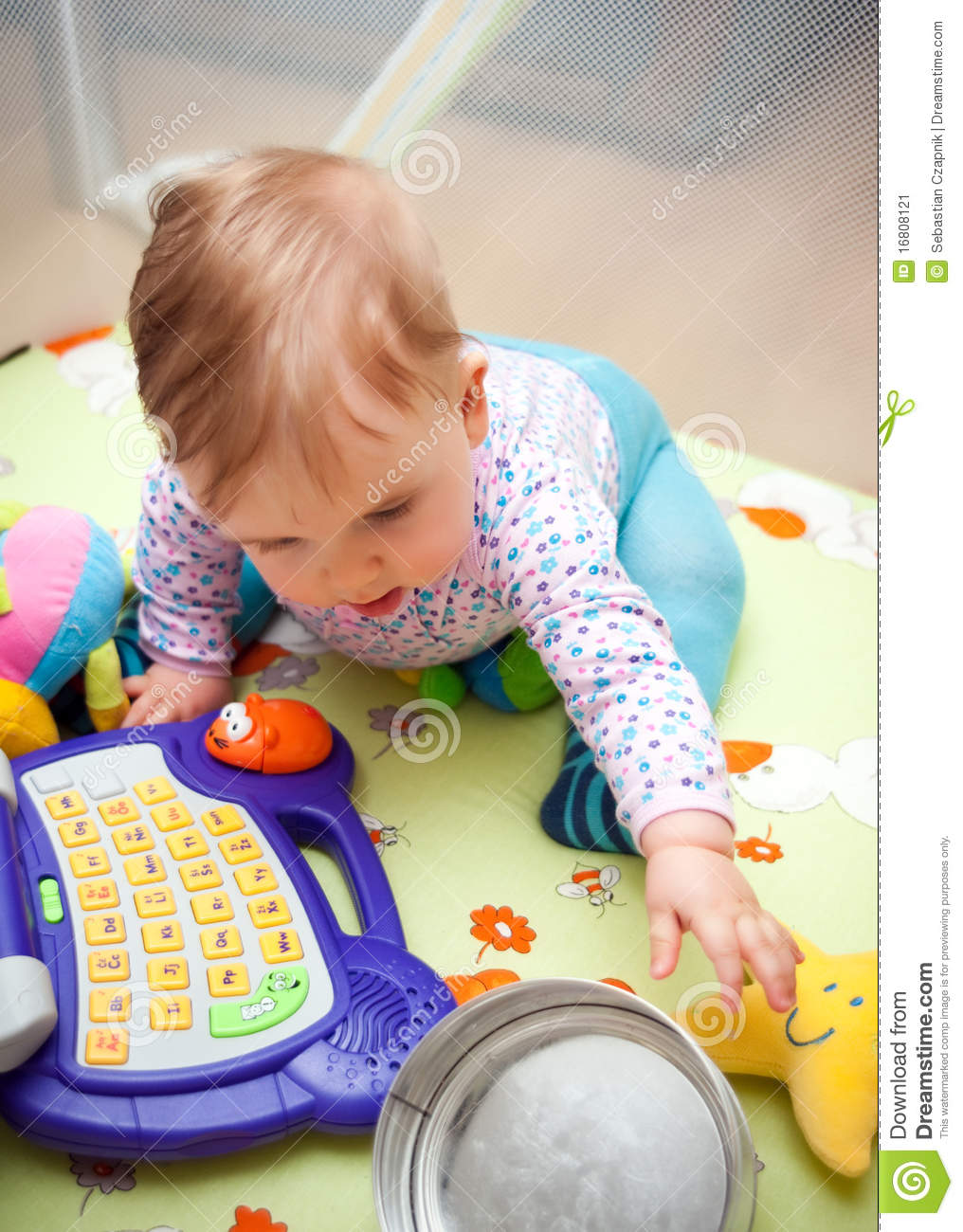 Baby Girl Playing With Toys Stock Image - Image Of -4224