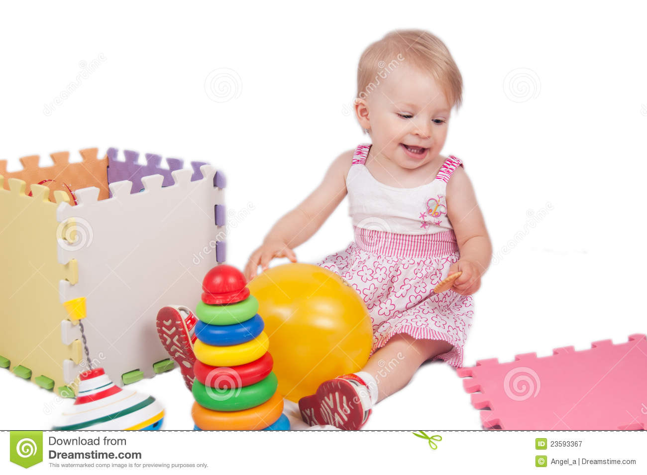 baby girl playing toys royalty free stock photography   image