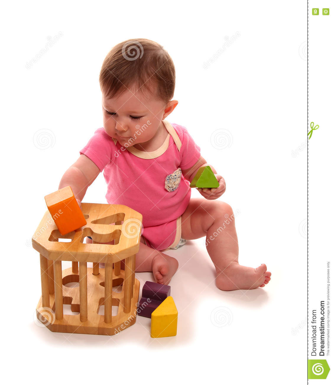 5a7ef4f83 Baby Girl Playing With Wooden Shape Sorter Stock Photo - Image of ...