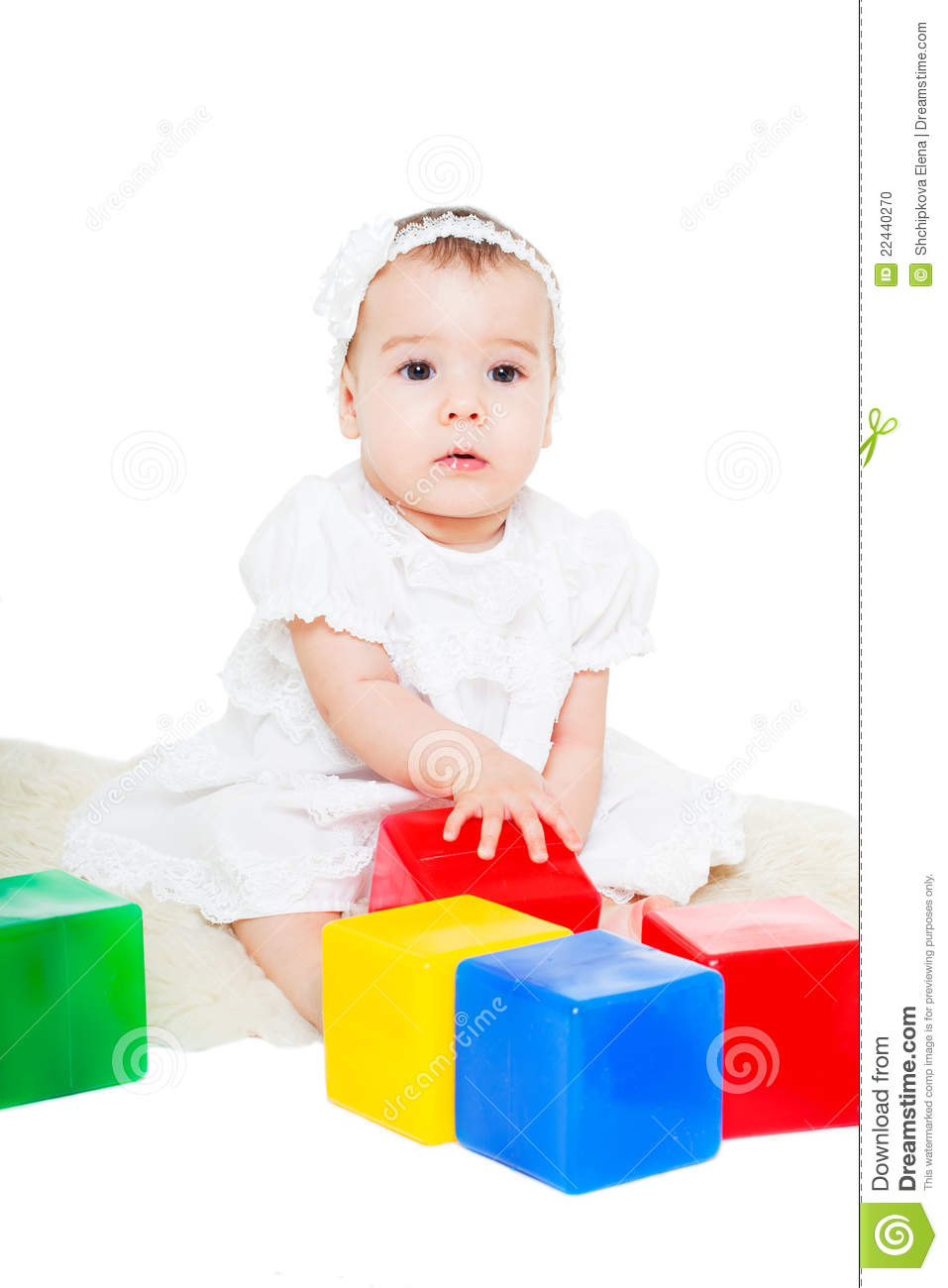 Baby Girl Plays With Toy Blocks Stock Photo - Image: 22440270