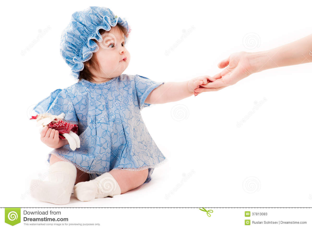 Baby girl reaches out concept of help stock photos image 37813083