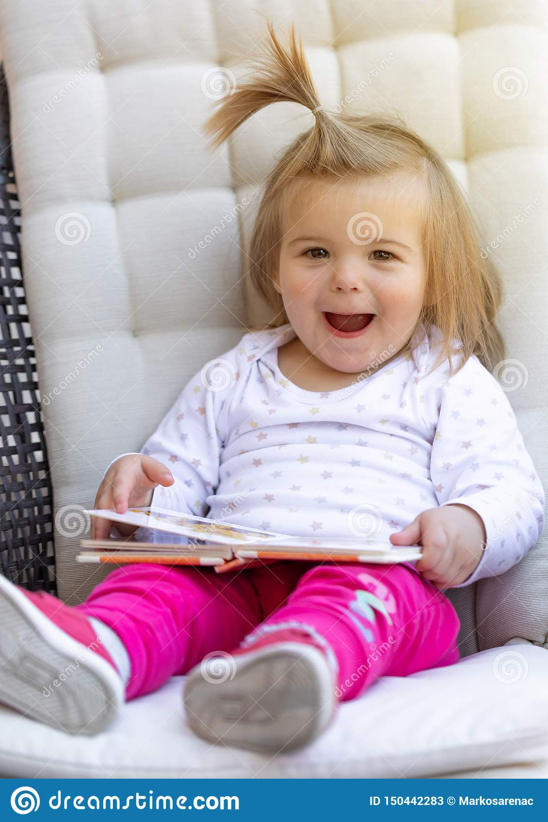 Baby Girl Read Book Cute Child Face Stock Image Image