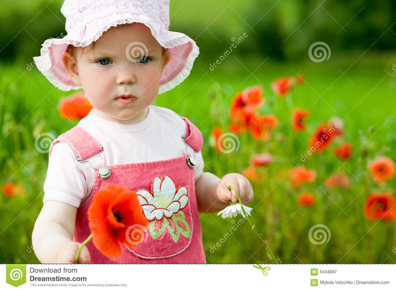 Download Baby-girl with red flower stock image. Image of crops - 5434667