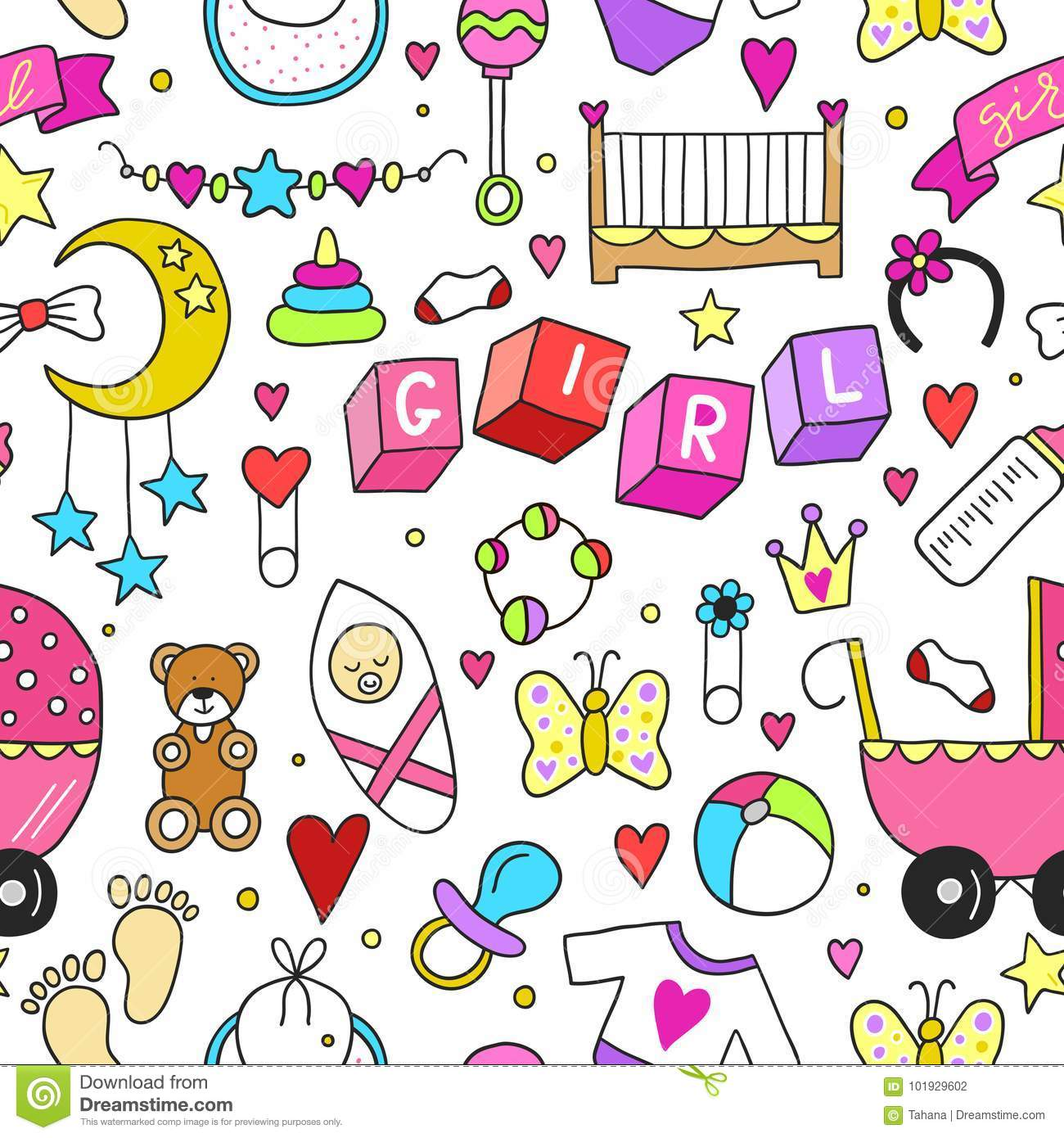 Baby Girl Related Sticker Icons Collection Seamless Pattern Cute