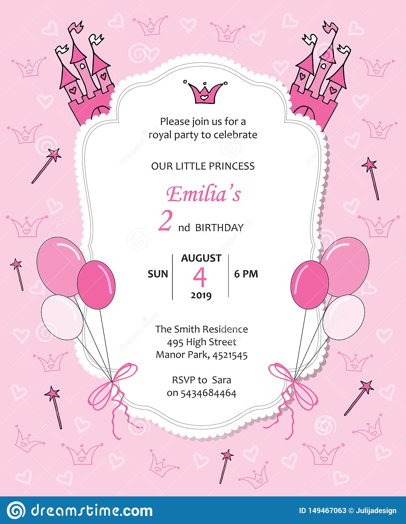 Baby Girl Royal Birthday Invitation With Balloons Castle
