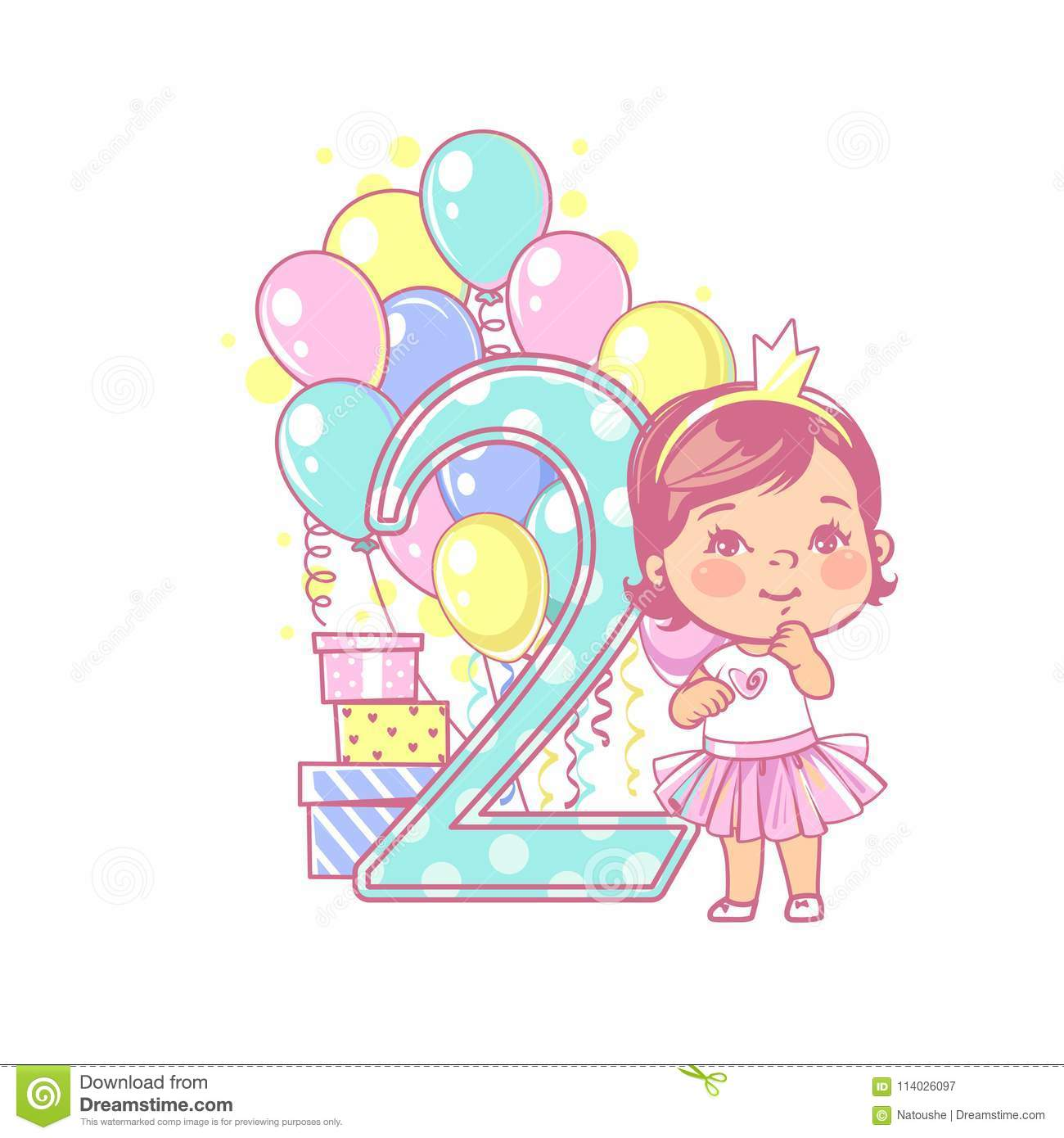 Two Years Old Girl Standing Near Large Number 2 Second Year Celebration Little Girls Birthday Cute Wearing Tutu Skirt Air Balloons Gifts Crown