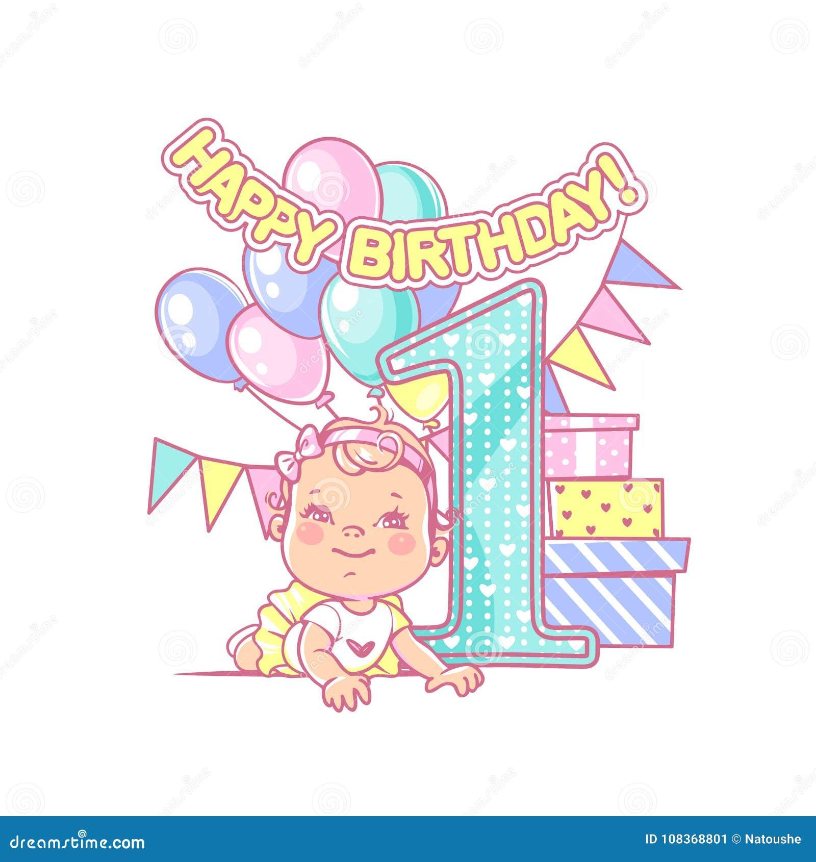 Baby Girls First Birthday Festive Decoration
