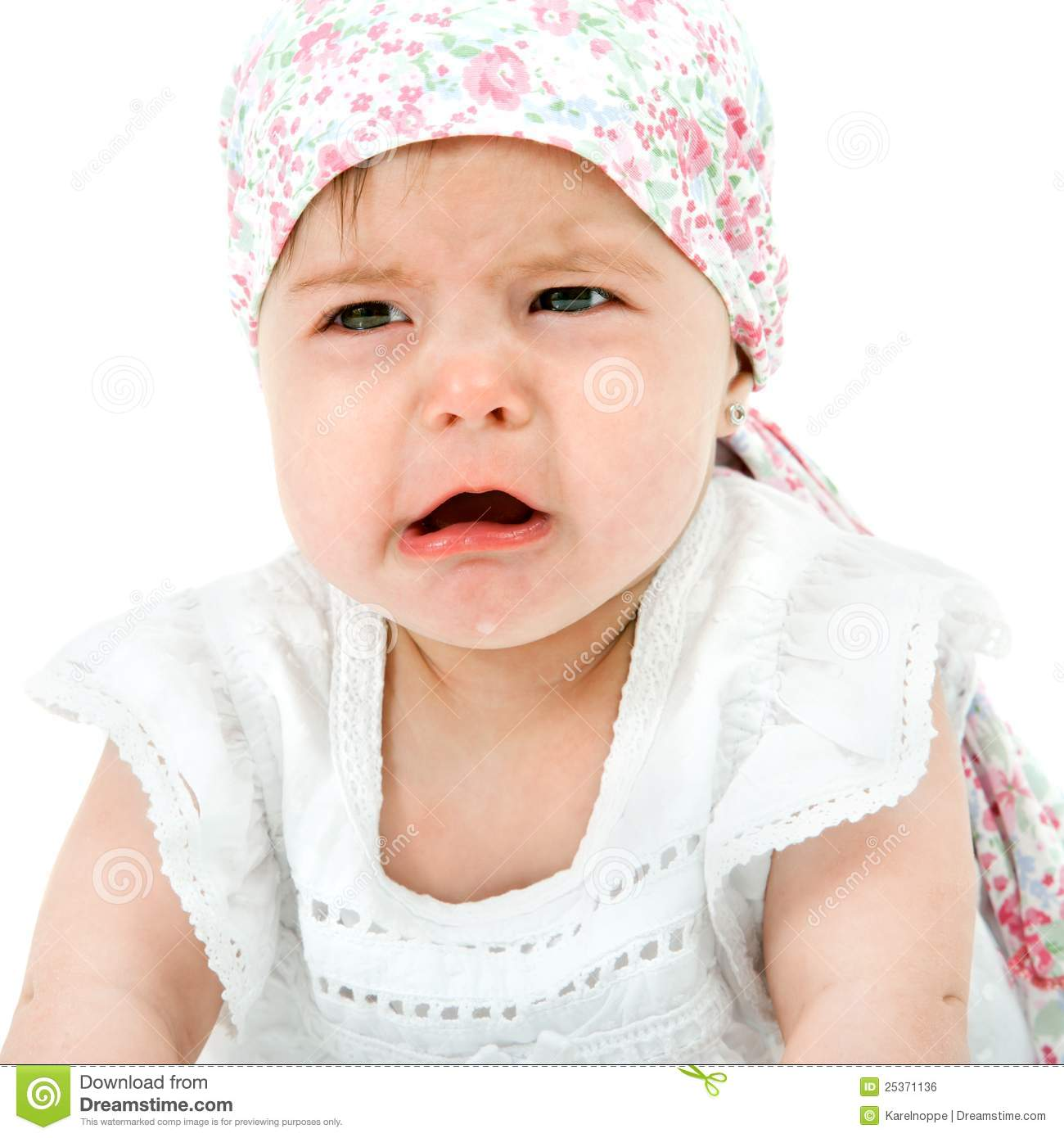 baby girl with sad face expression. stock photo - image of cheerless