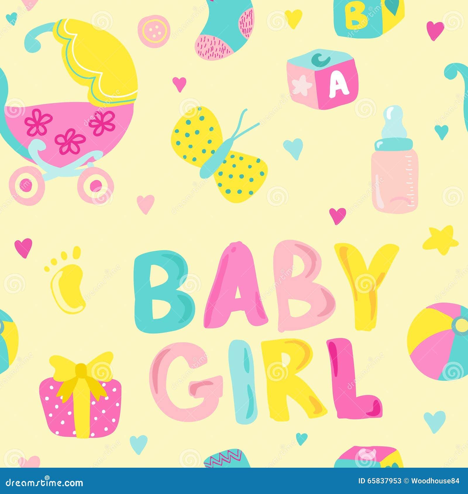 Vector Seamless Background For Baby Girl Cartoon Vector ...