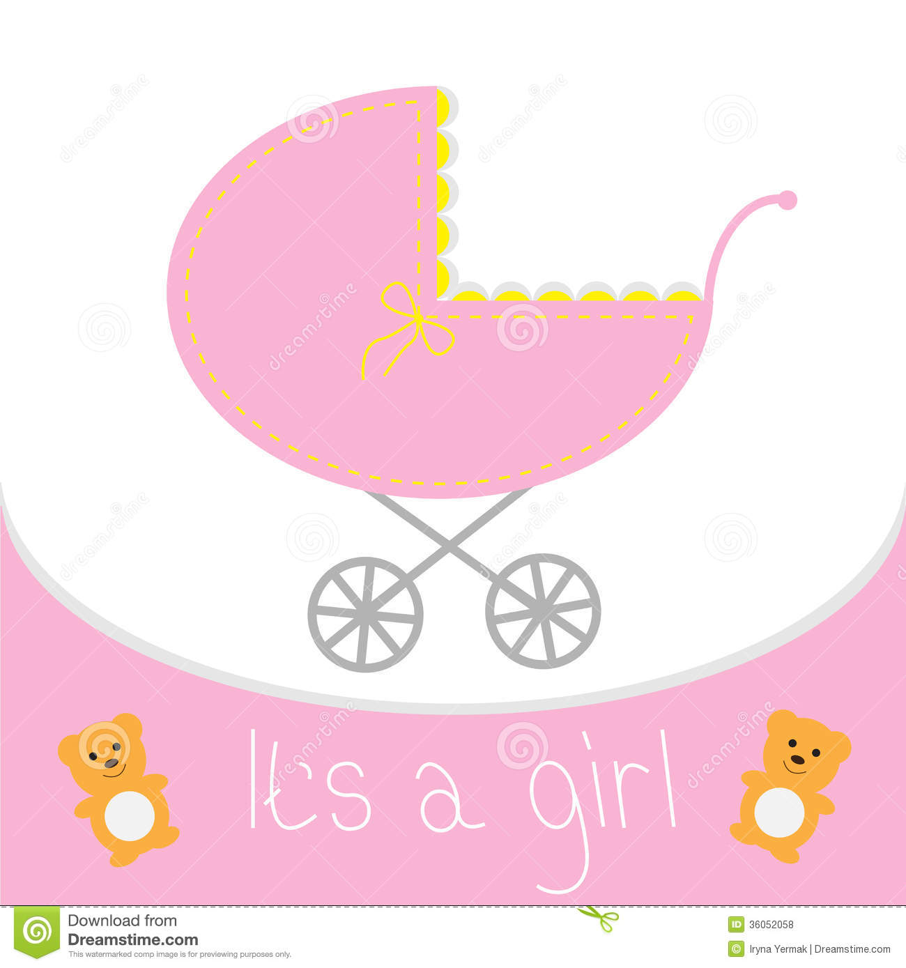 baby girl shower card baby carriage its a girl