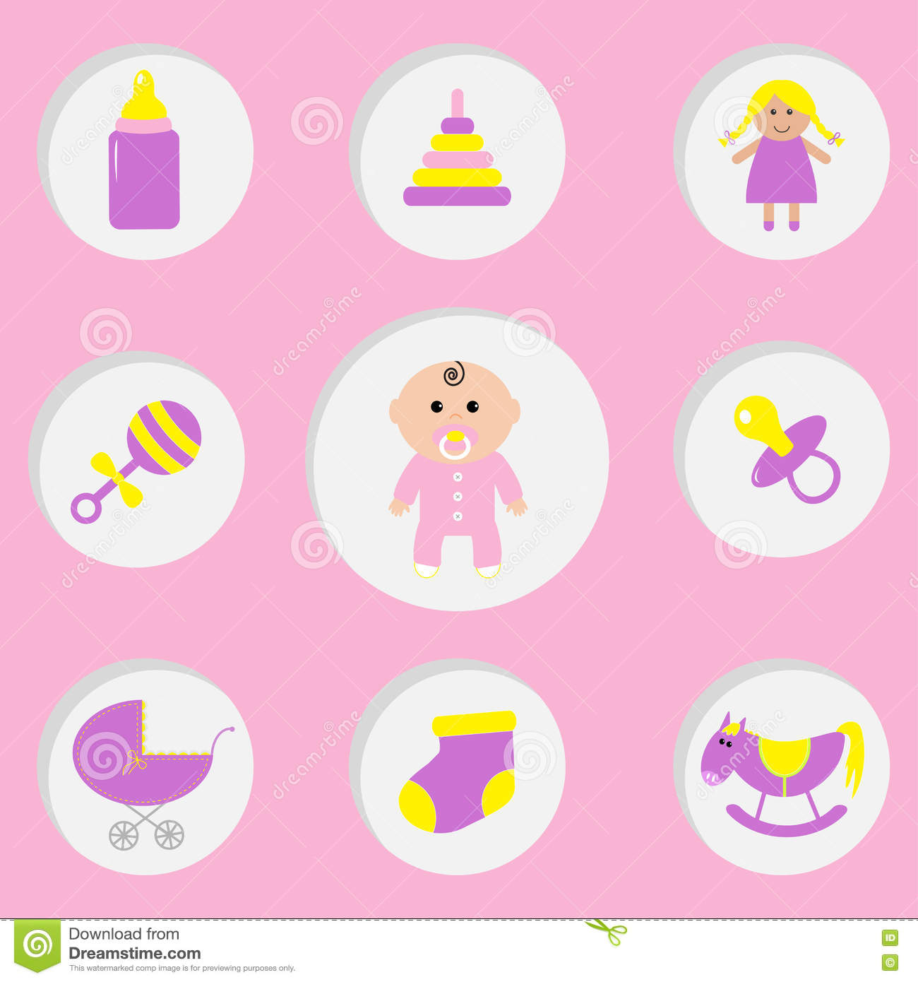 Baby With A Pink Pacifier In The Background Cartoon Vector ...