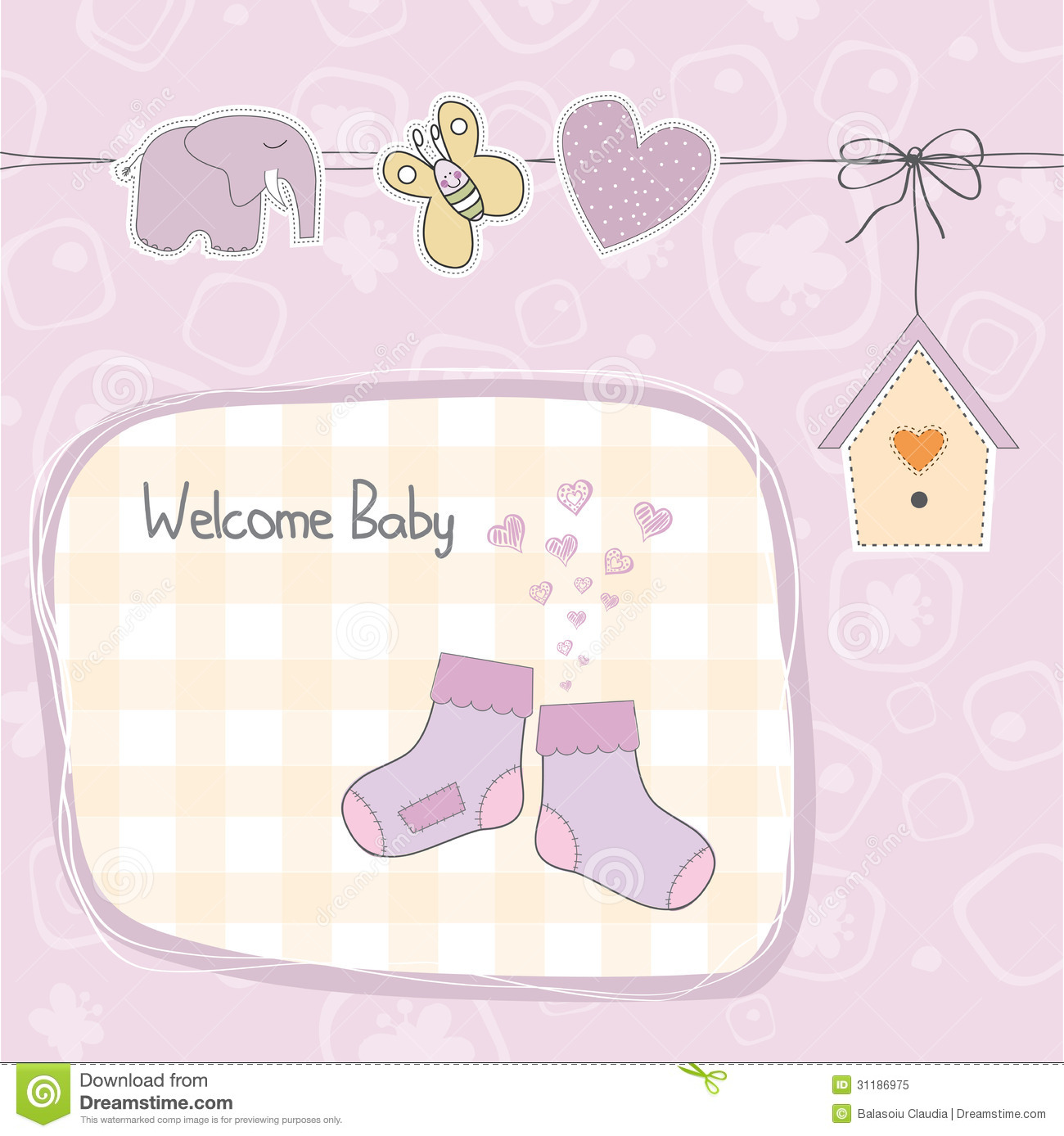 Baby Girl Shower Card With Socks Royalty Free Stock Photo