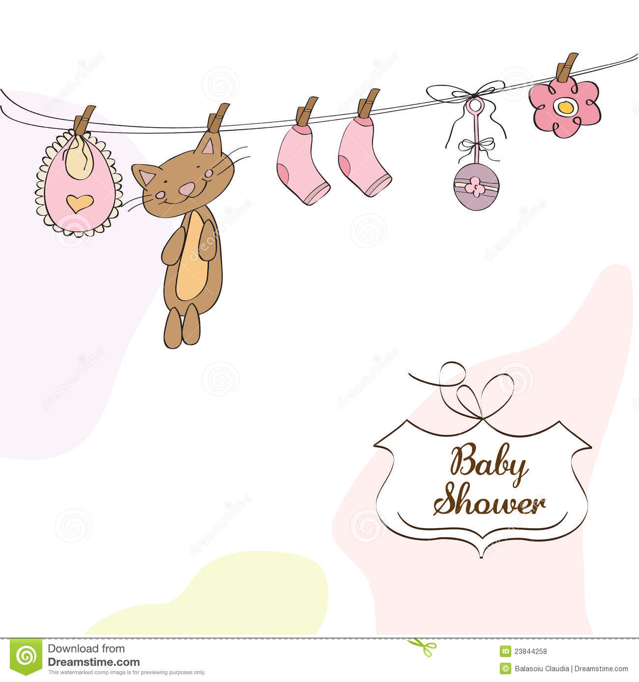 Baby Girl Shower Invitation Card Stock Vector Illustration