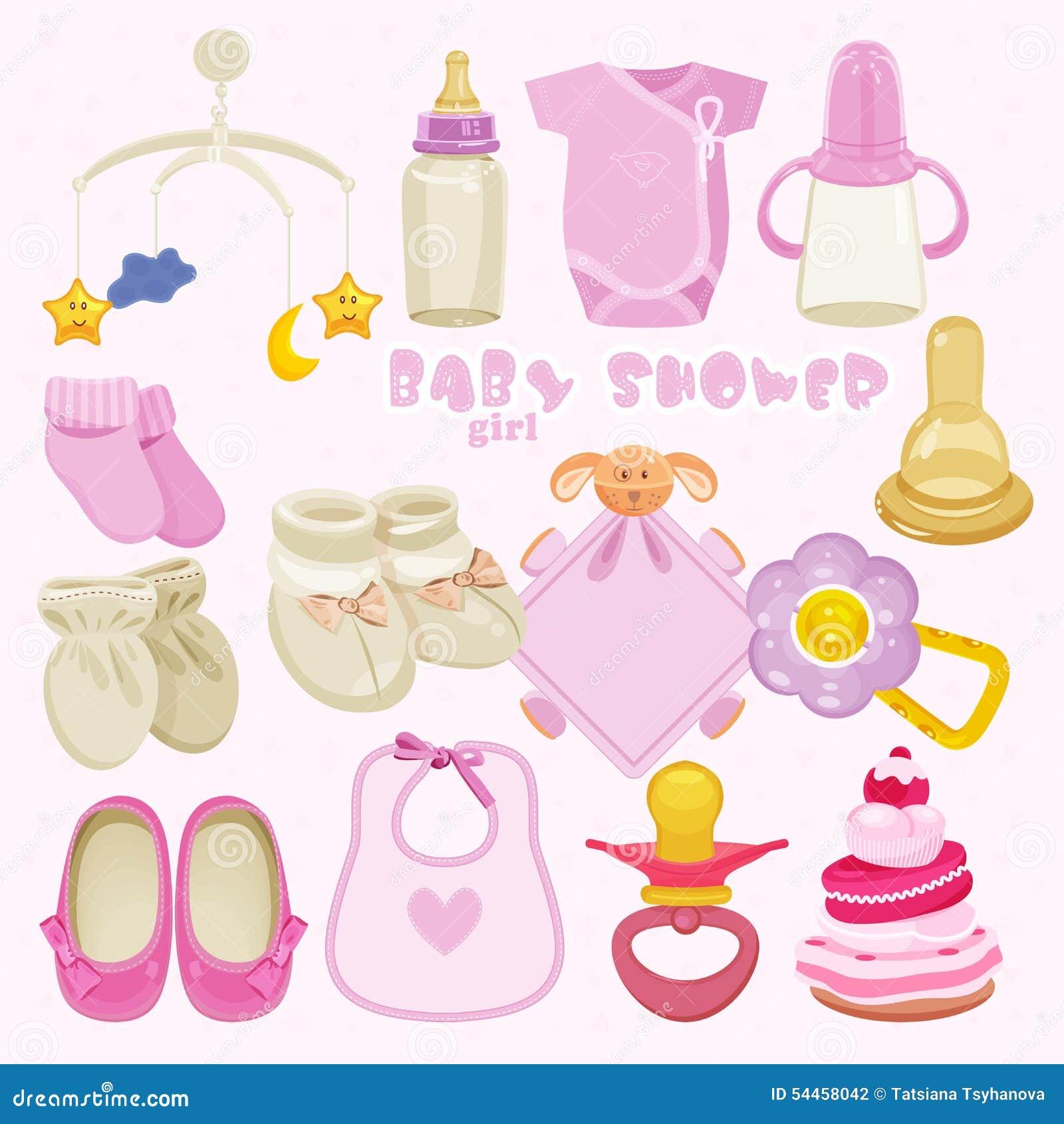 Baby Girl Shower Set. Stock Vector. Illustration Of
