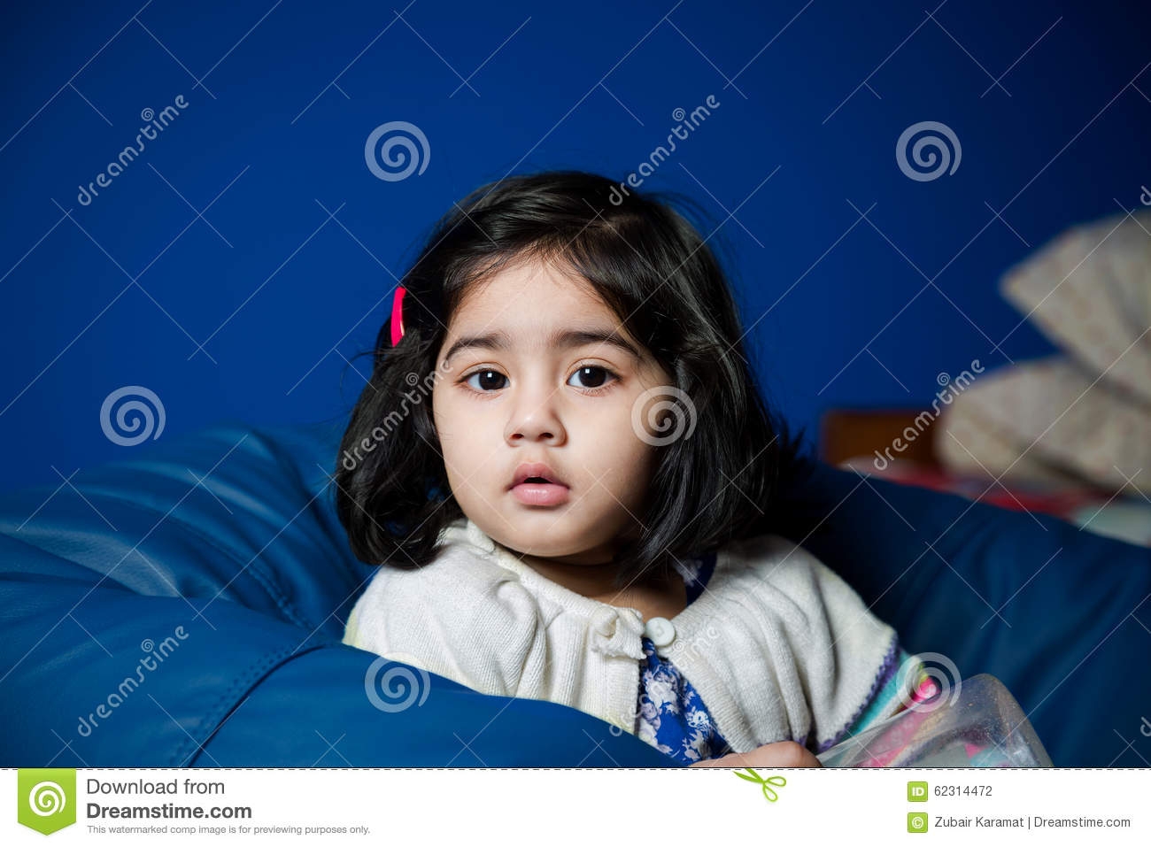 Strange Baby Girl Sitting On A Bean Bag Stock Photo Image Of Blue Caraccident5 Cool Chair Designs And Ideas Caraccident5Info