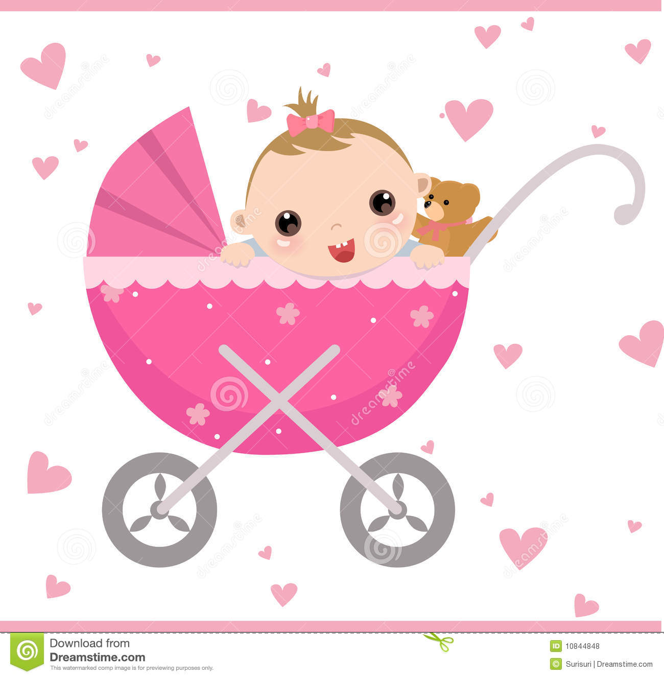 Baby Girl Sitting In Carriage Stock Vector - Illustration of