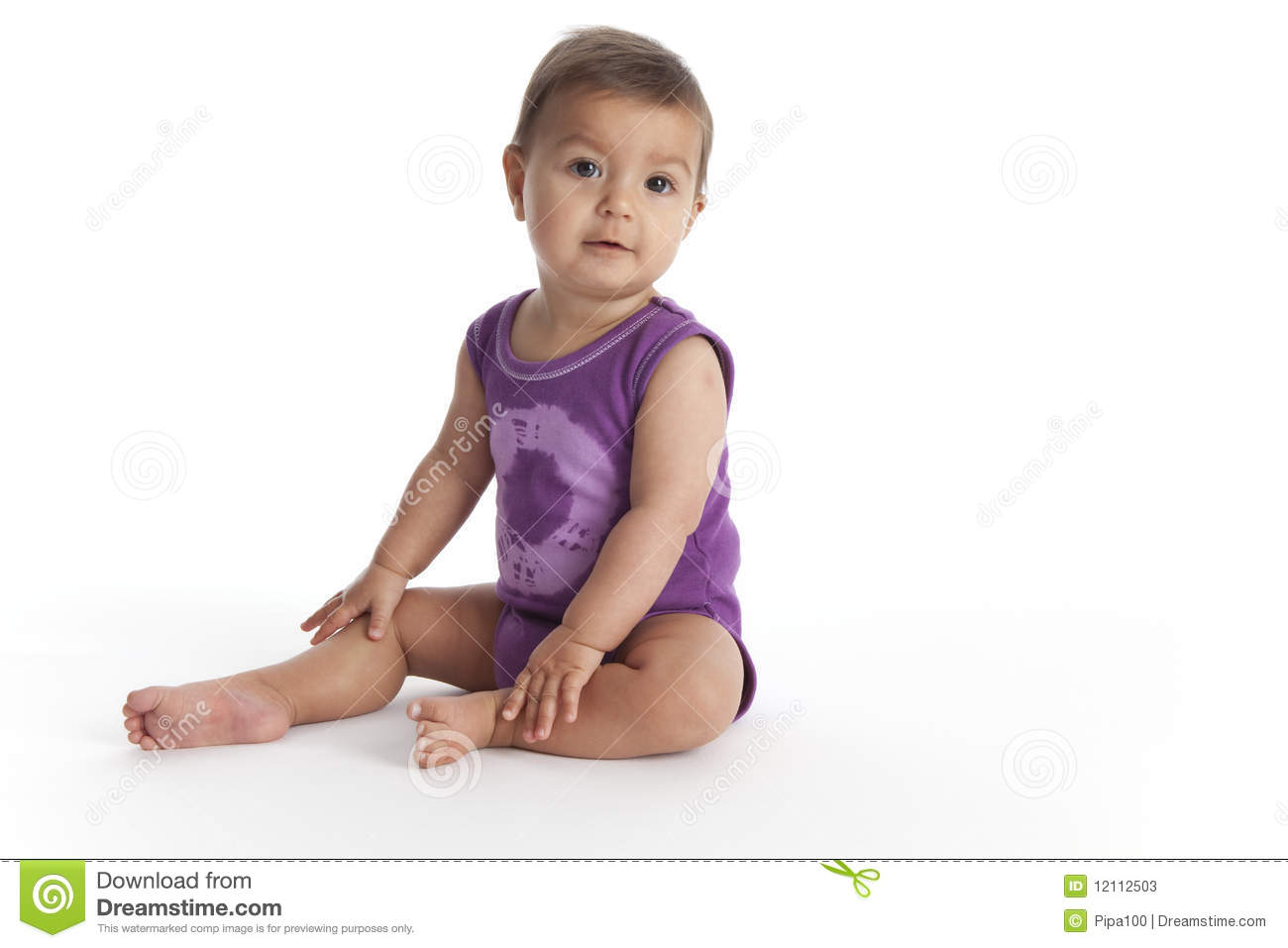 baby girl sitting on the floor stock photos image 12112503. Black Bedroom Furniture Sets. Home Design Ideas