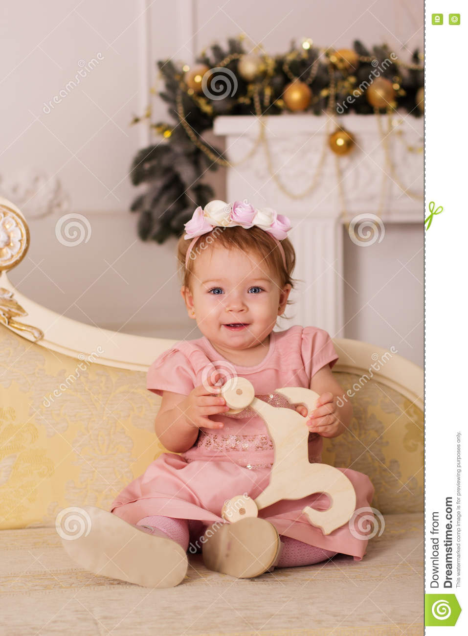 Baby Girl Is Sitting At Home With Christmas Decor Stock Photo Image Of Cute Beautiful 80661280