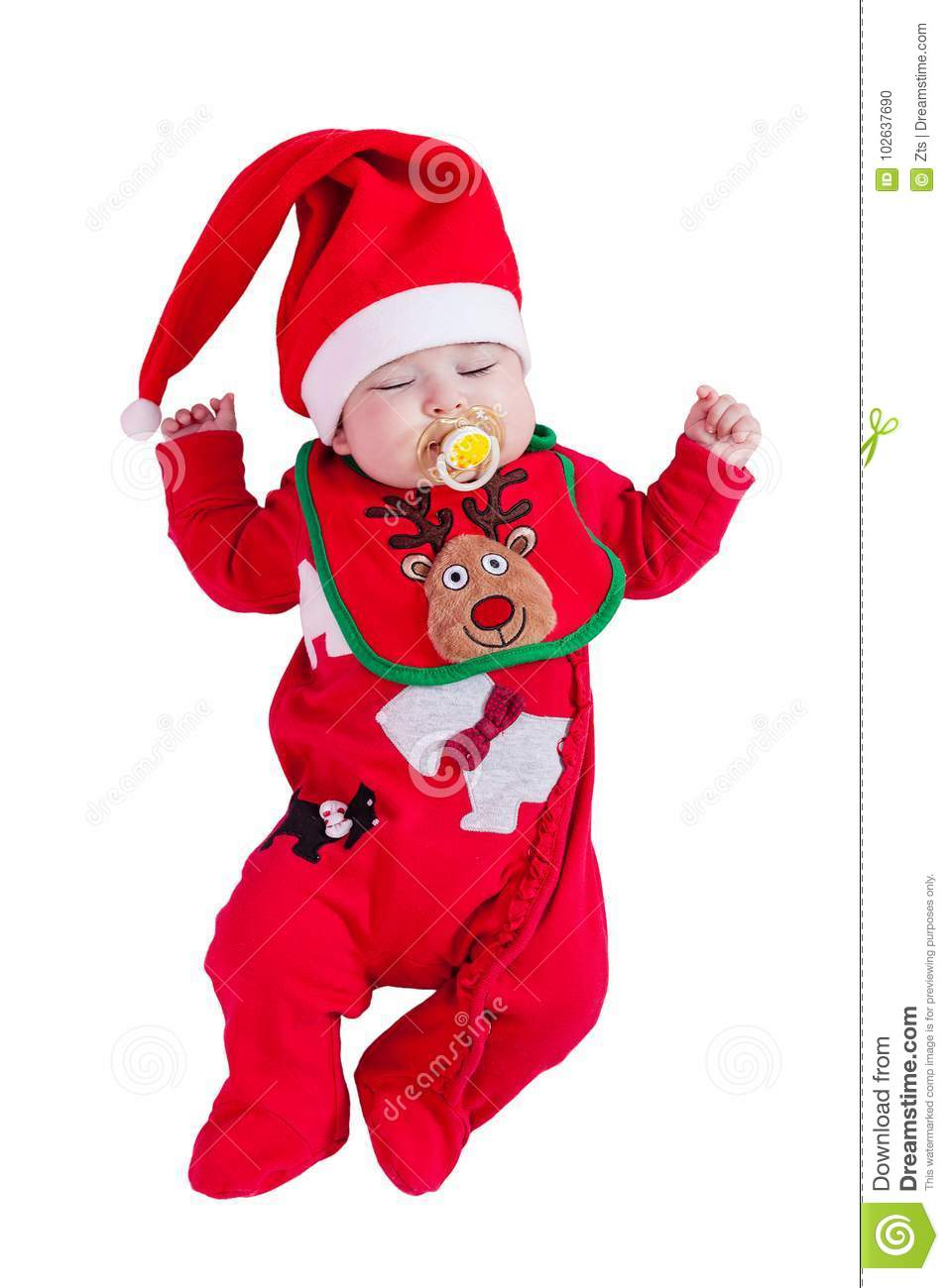 baby girl sleeping or asleep with pacifier or dummy red onesie