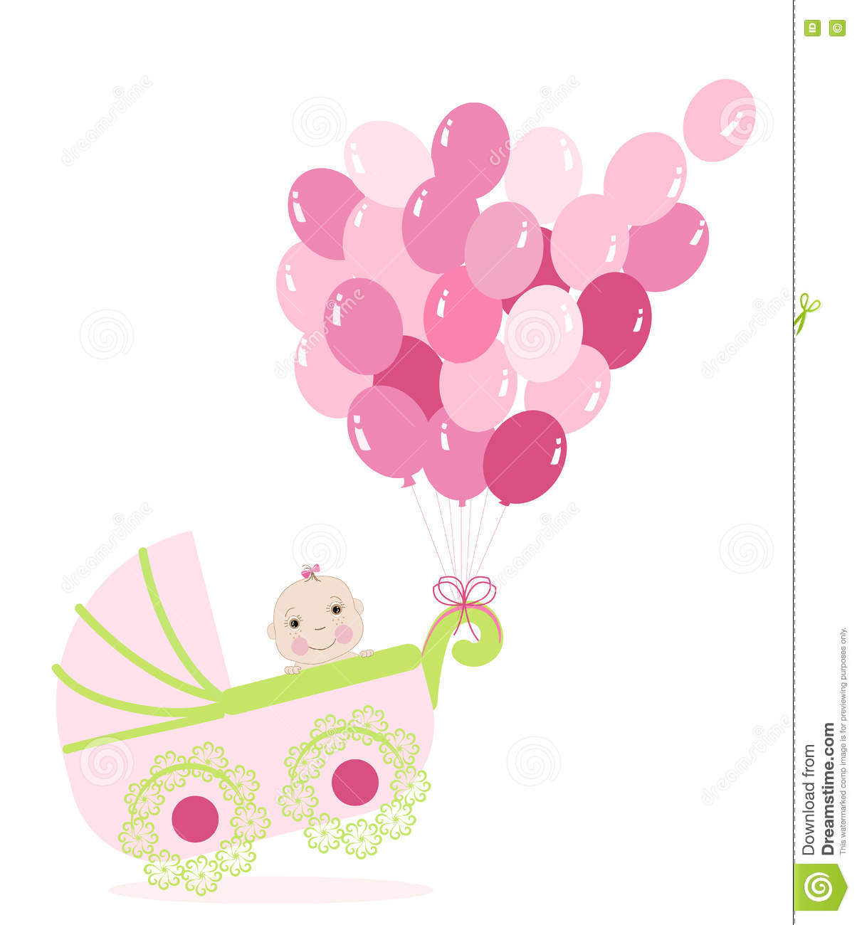 Baby Girl Stroller With Balloon Baby Shower Greeting Card Stock