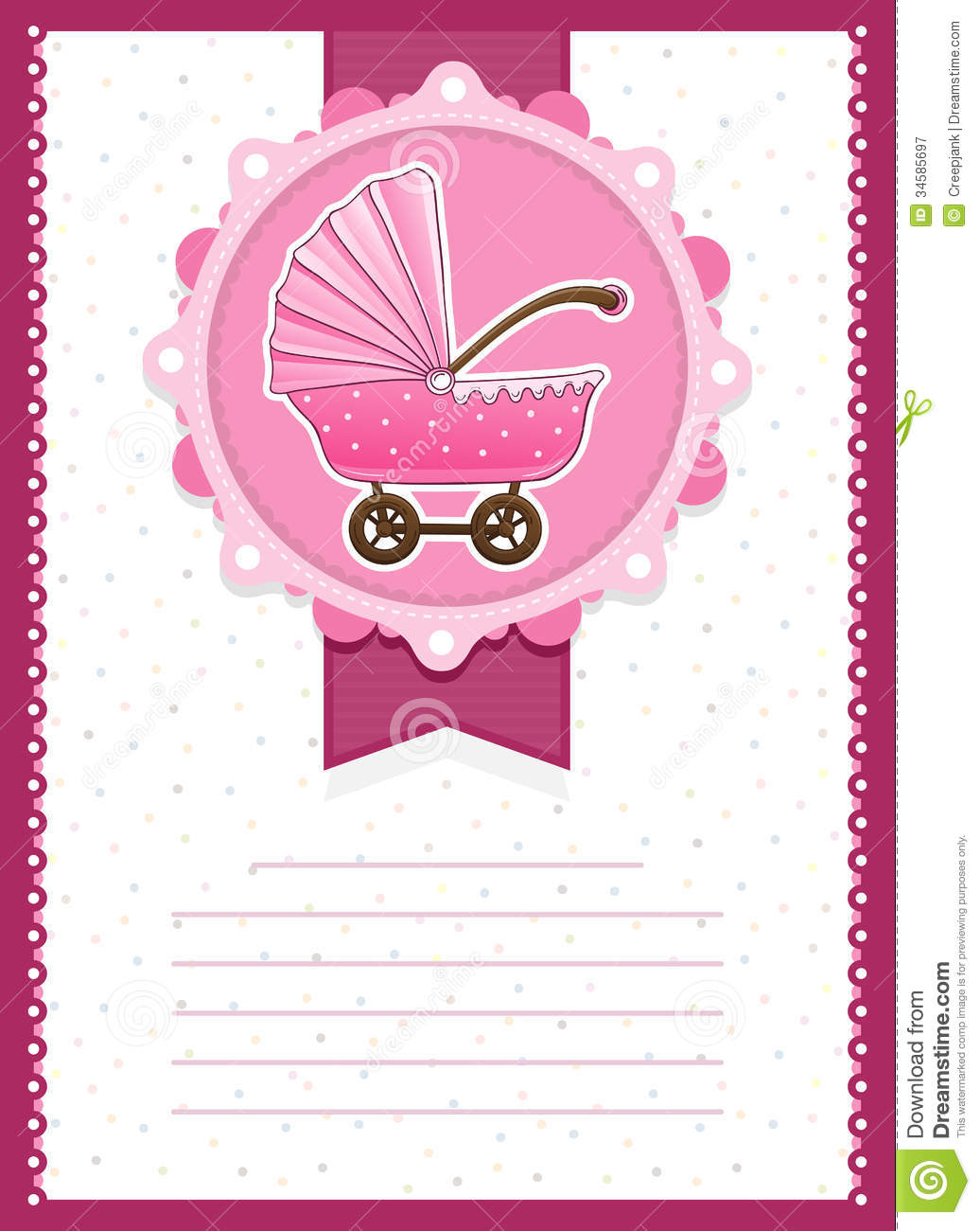 Baby Girl Stroller Invitation Card Royalty Free Stock