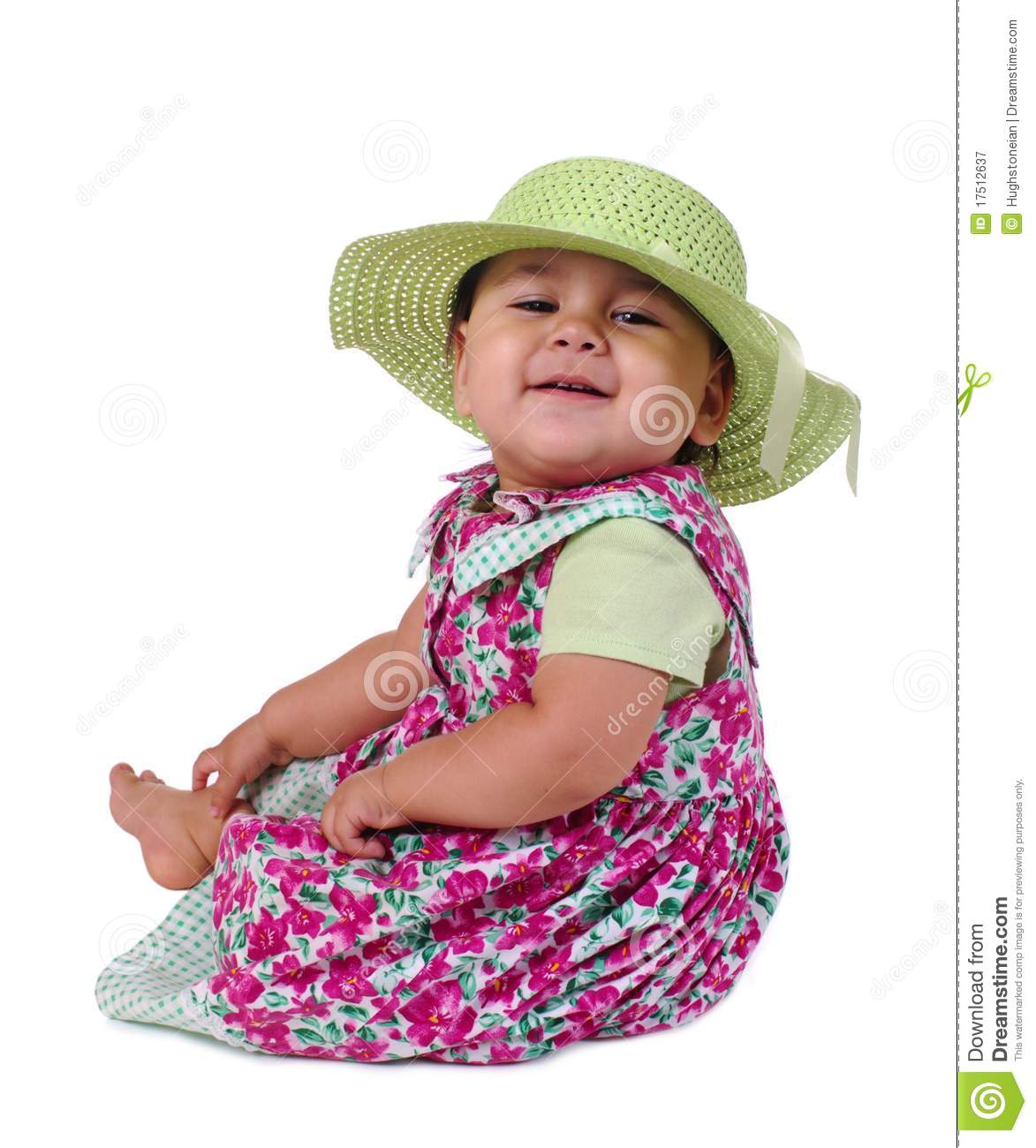 Baby Girl In Summer Dress And Hat Stock Image - Image of infant ... caa6aca6f22