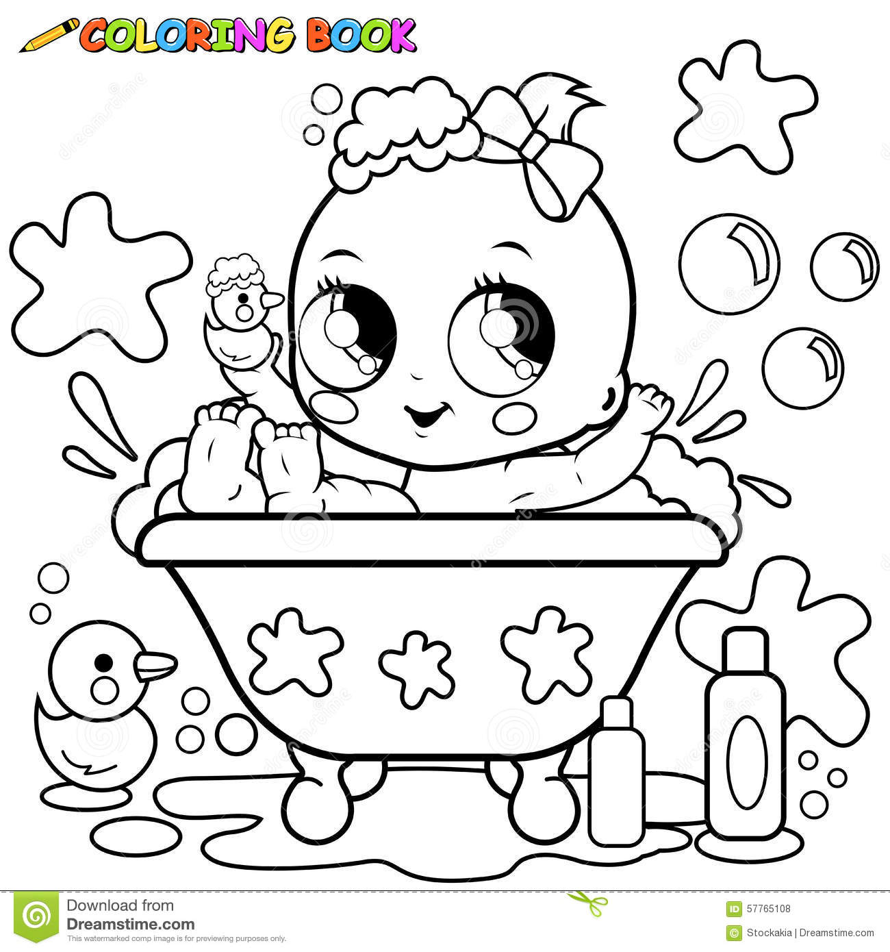 Baby girl taking a bath coloring page stock vector for Baby toys coloring pages