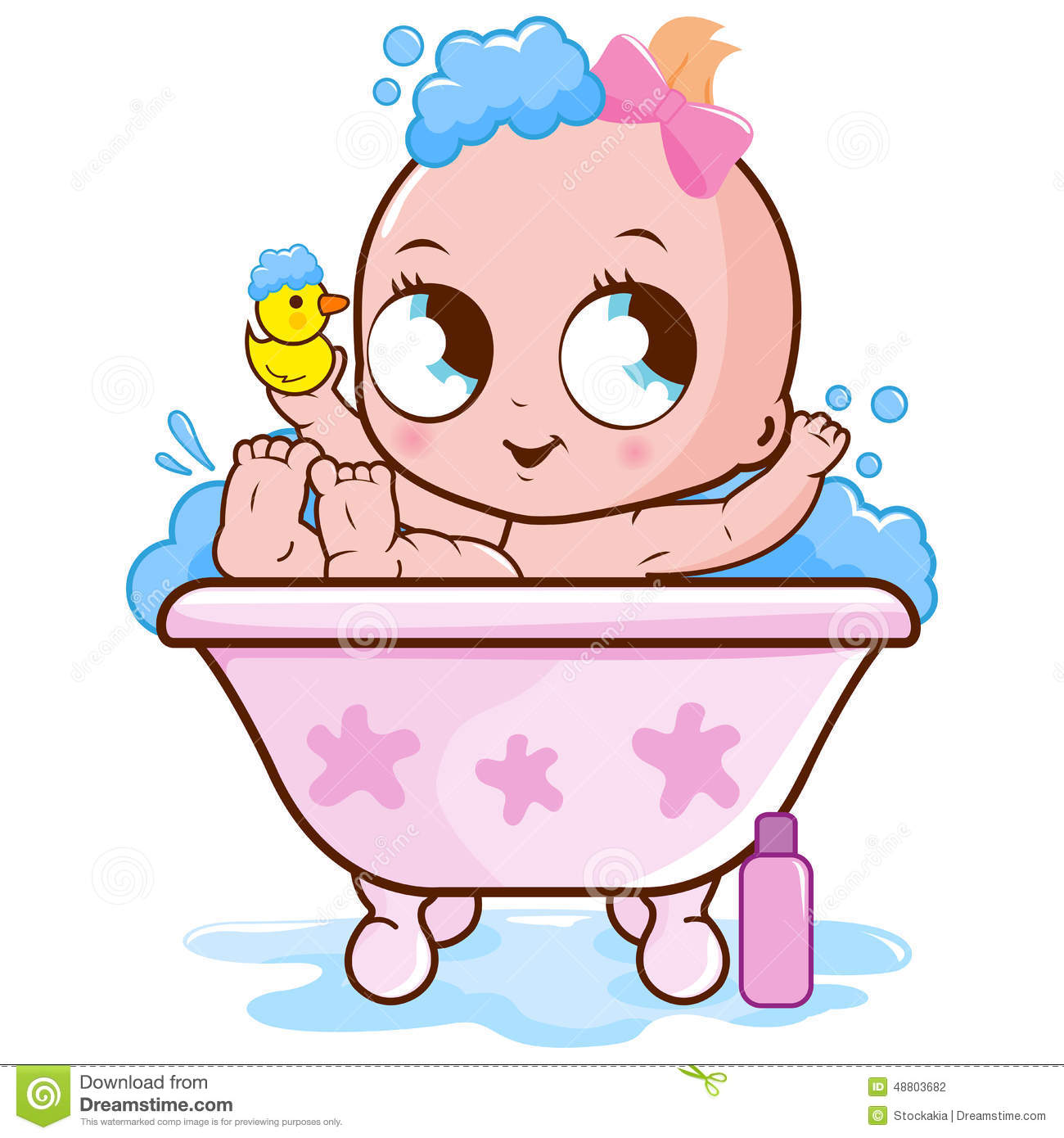 baby girl taking a bath stock vector image 48803682. Black Bedroom Furniture Sets. Home Design Ideas
